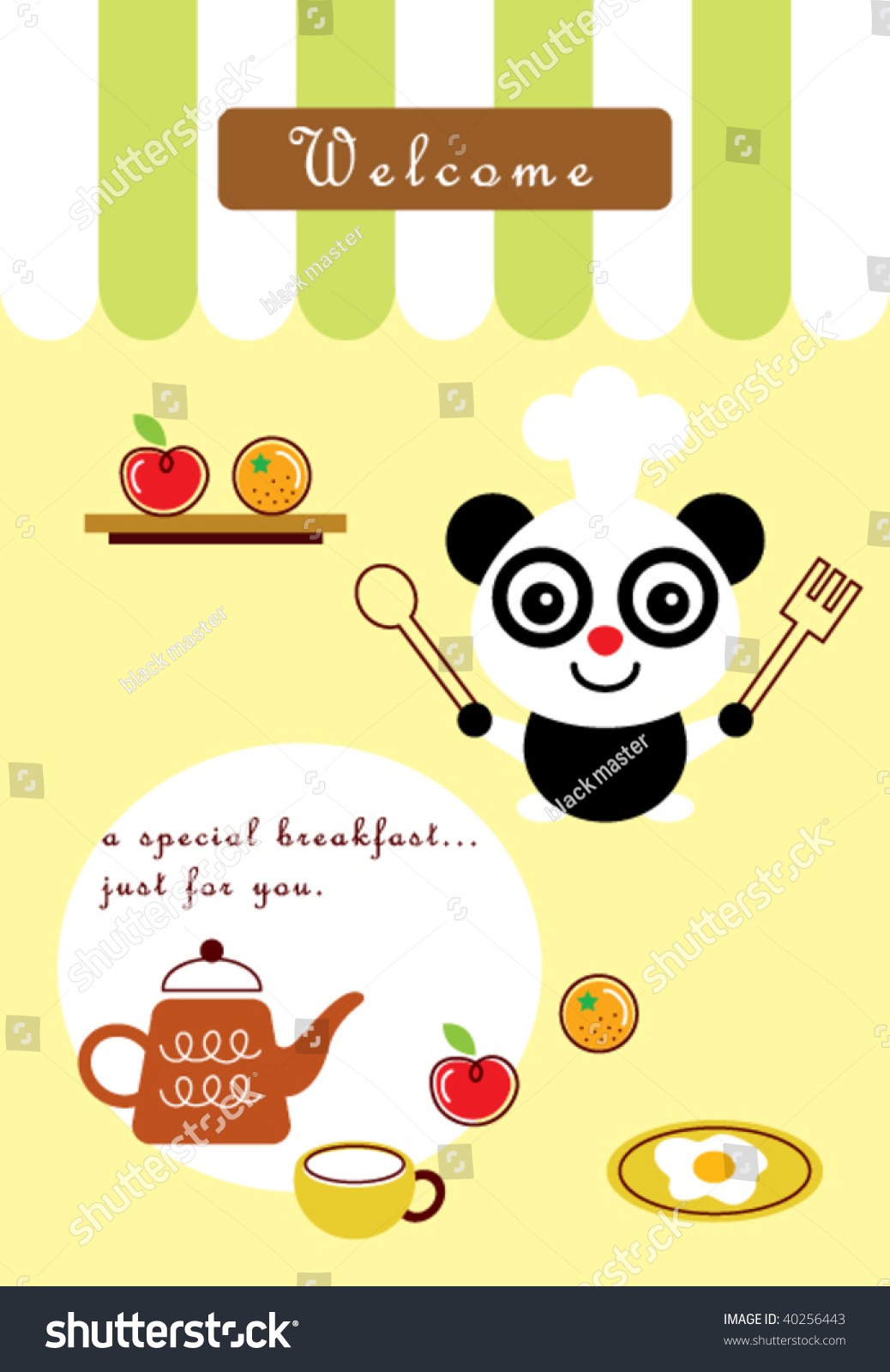 Little Panda Kitchen Stock Vector Illustration 40256443 Shutterstock