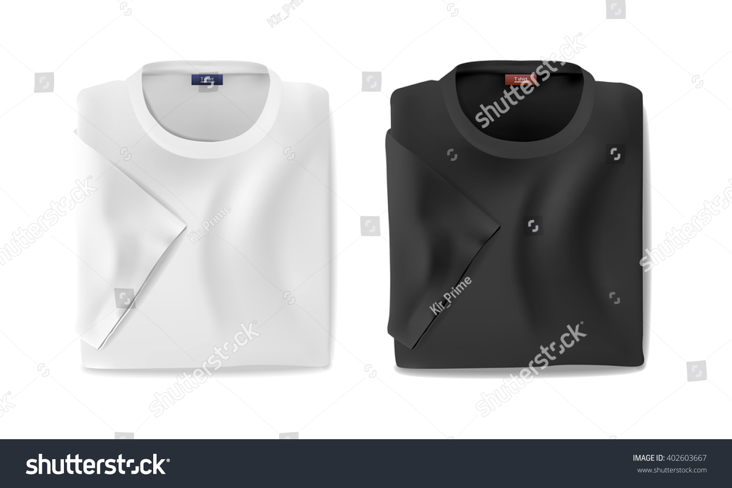 Black t shirt vector - Folded Black And White T Shirt With A Sleeves Template Vector Eps10 Illustration