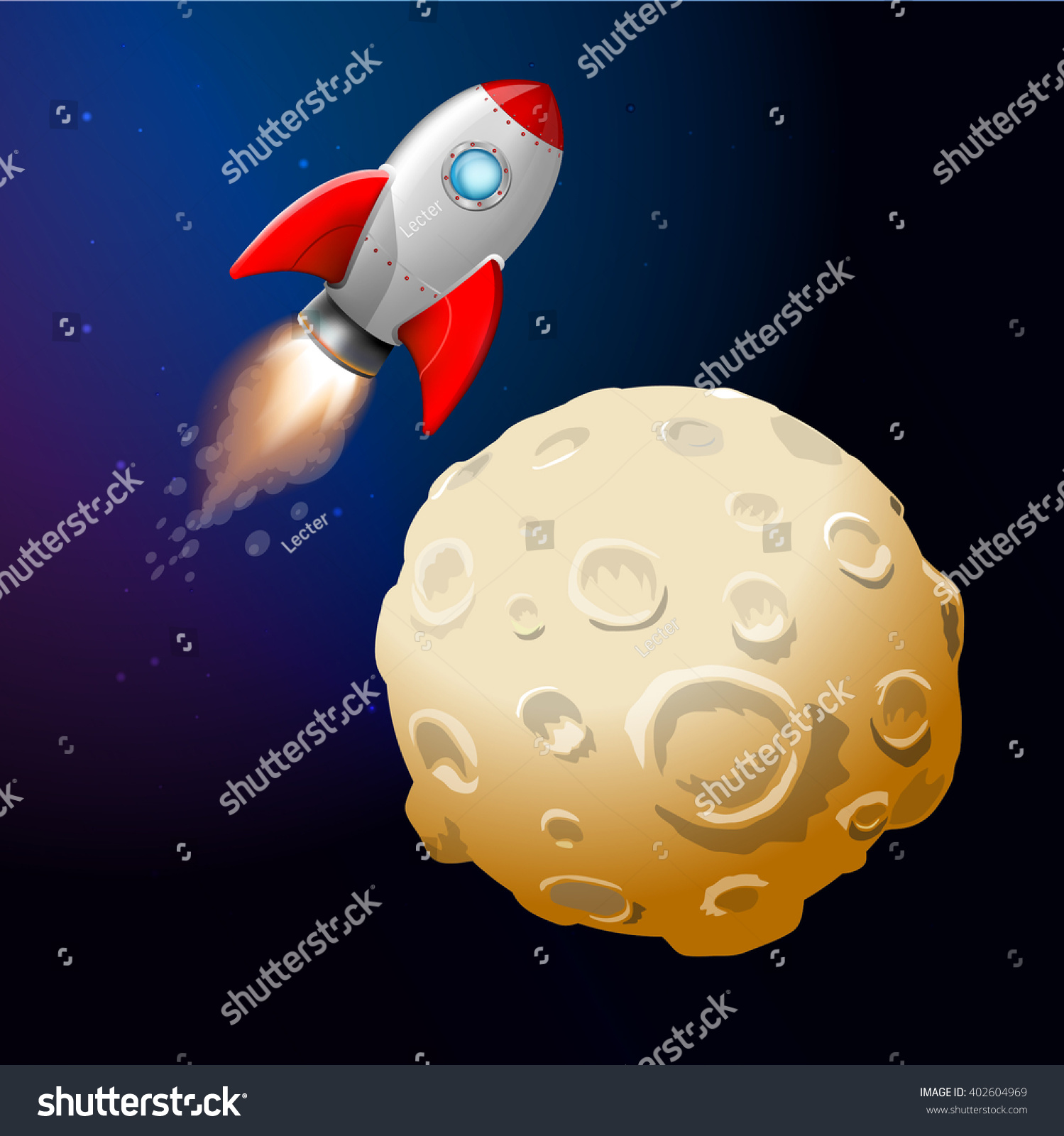 Rockets To The Moon: Rocket Fly Moon Rocket Moon Cartoon Stock Vector 402604969