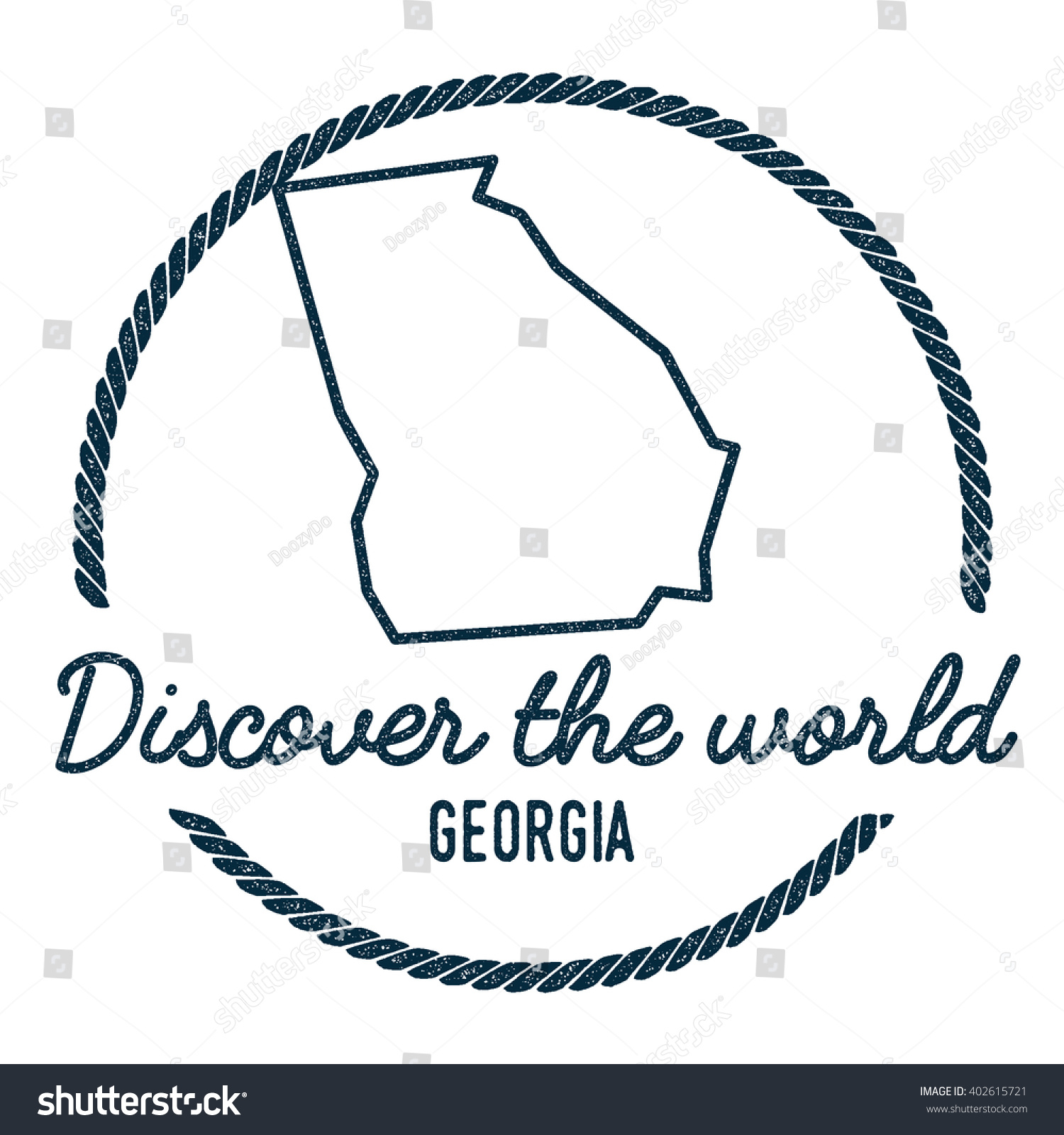 Georgia Map Outline Vintage Discover World Stock Vector - State of georgia map outline