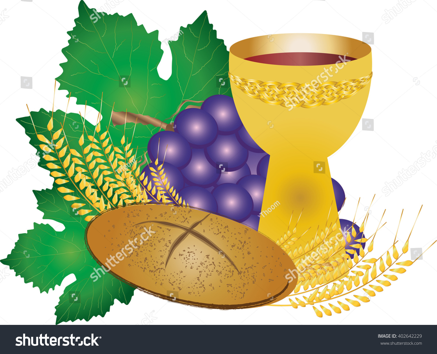Eucharist Symbols Bread Wine Chalice Host Stock Vector Royalty Free