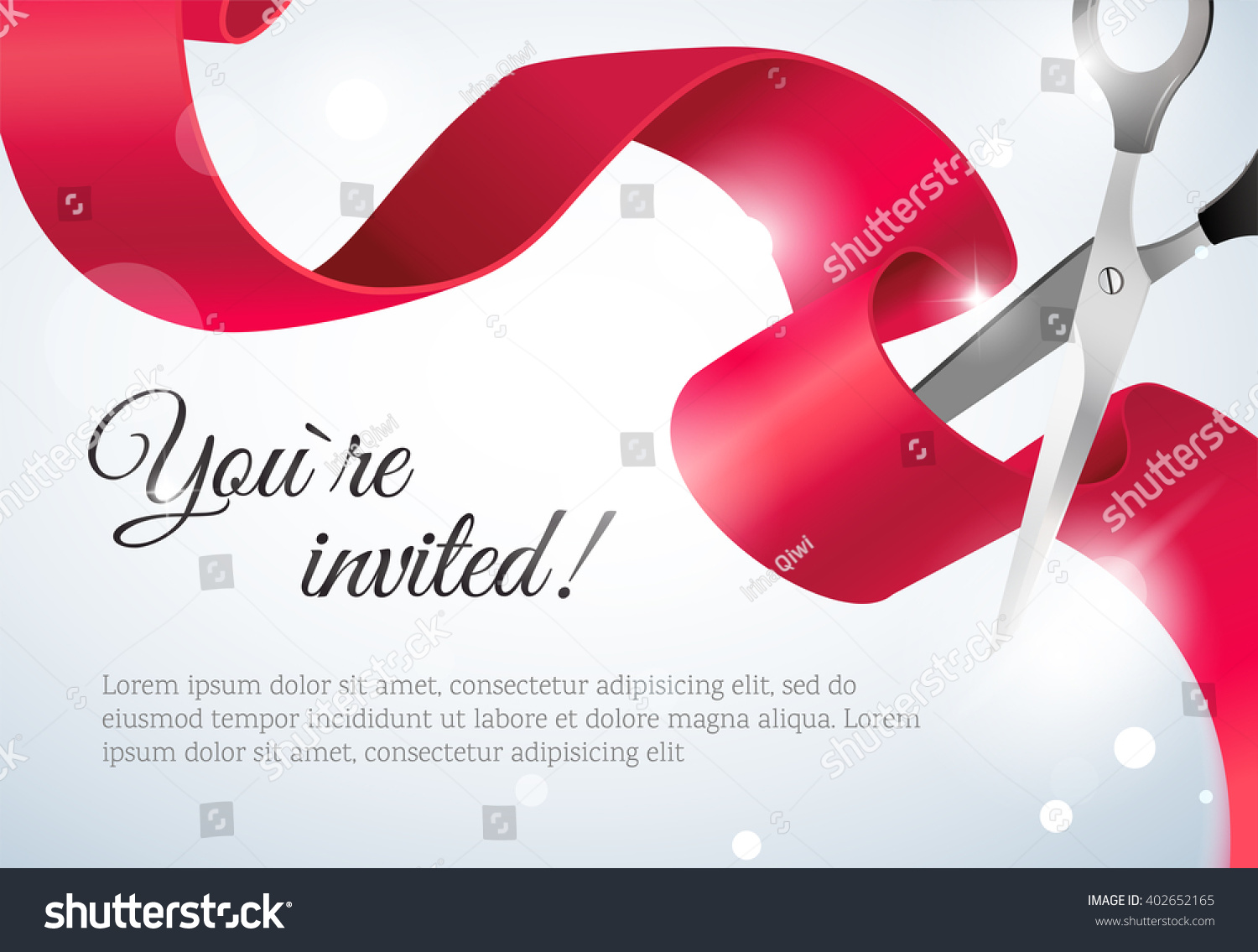 You invited invitation card curving ribbon stock vector 402652165 you are invited invitation card with curving ribbon and sparkling bokeh background grand opening concept stopboris Gallery