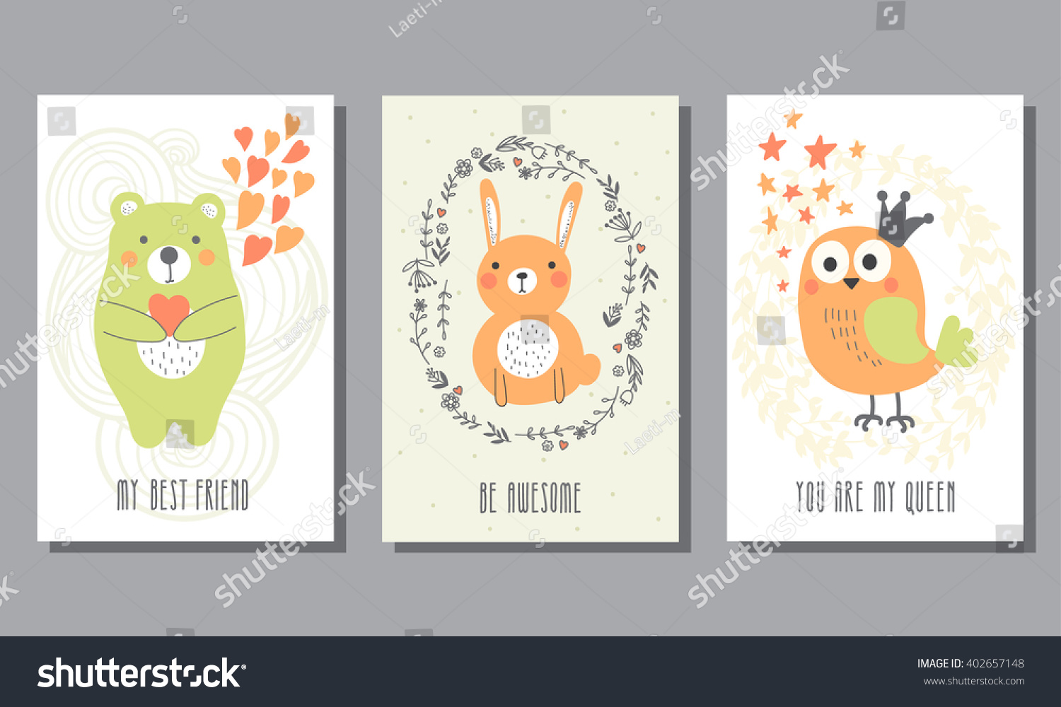 set three childrens postcards cute birthday stock vector royalty