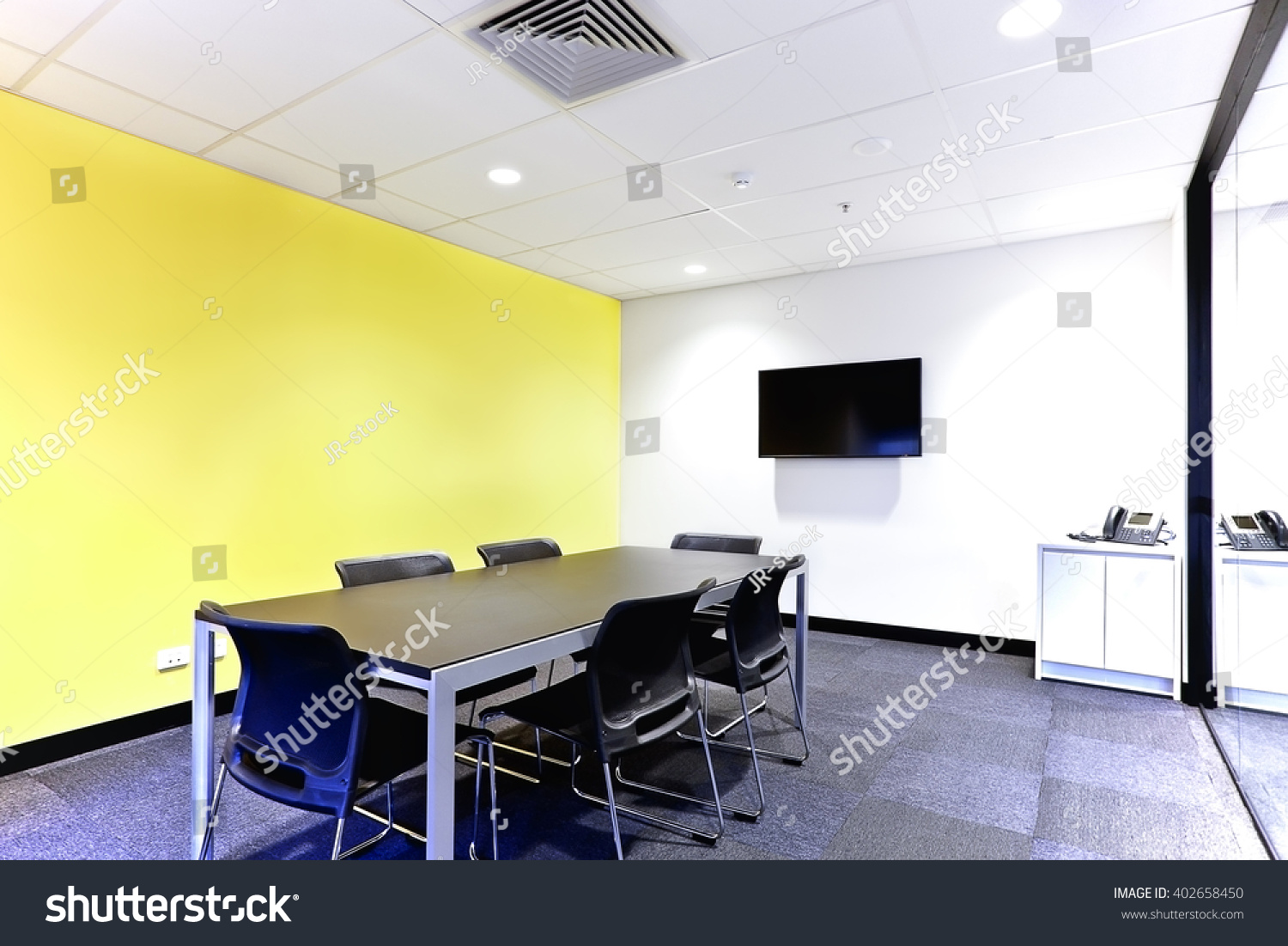 Modern Meeting Room Office White Yellow Stock Photo (Edit Now ...