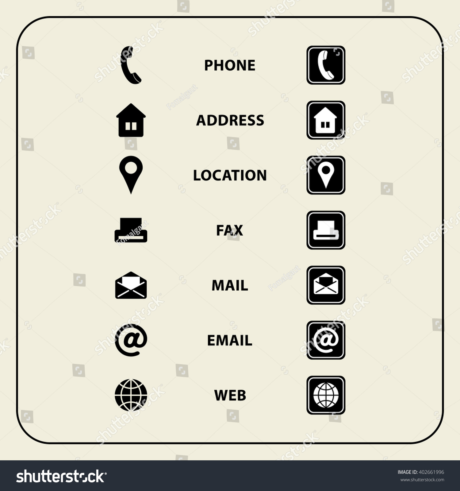 Set of web icons for business cards finance and for Business card symbols