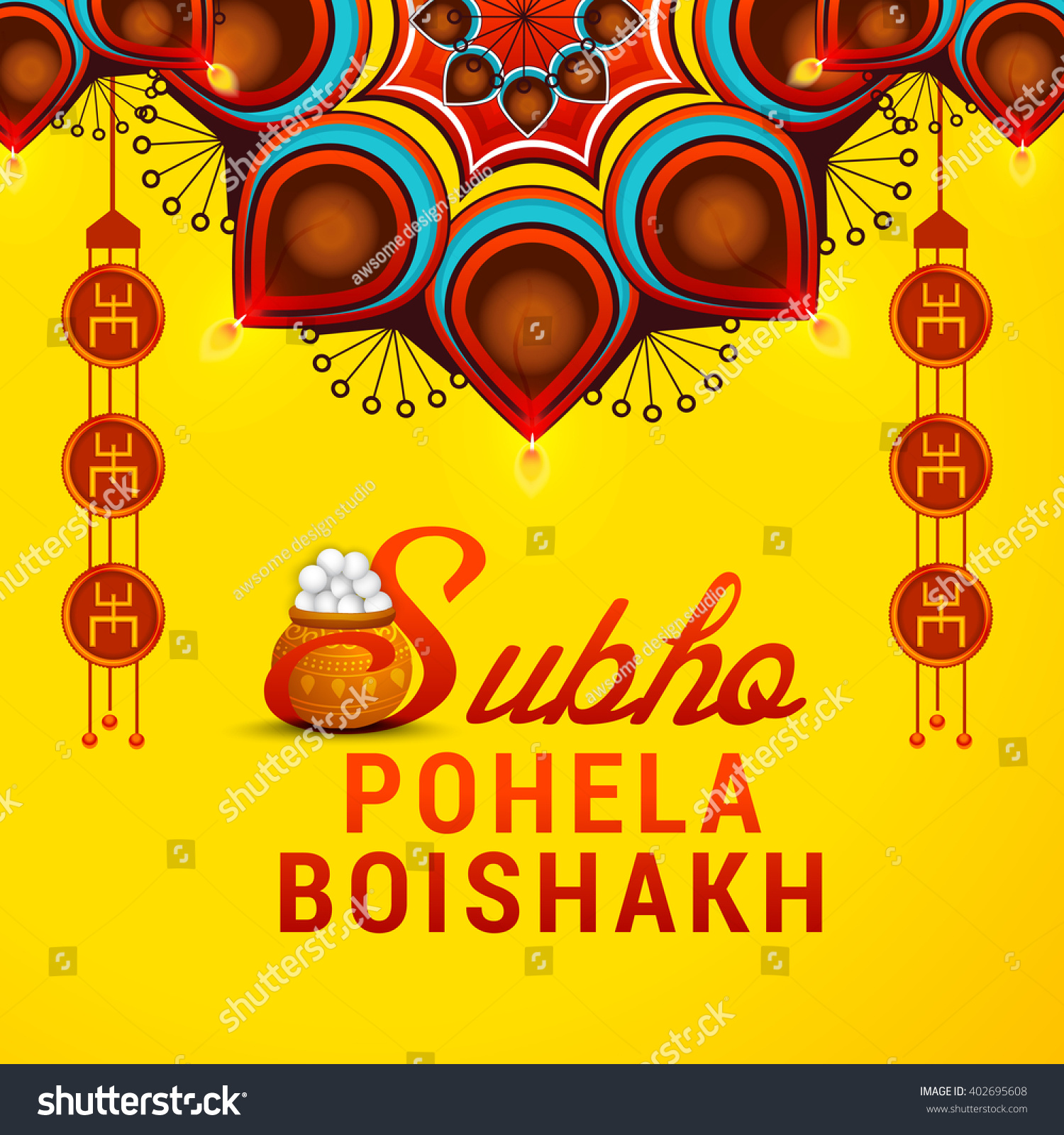 vector illustration of bengali new year subho pohela boishakh in bengali typography with a mud pot