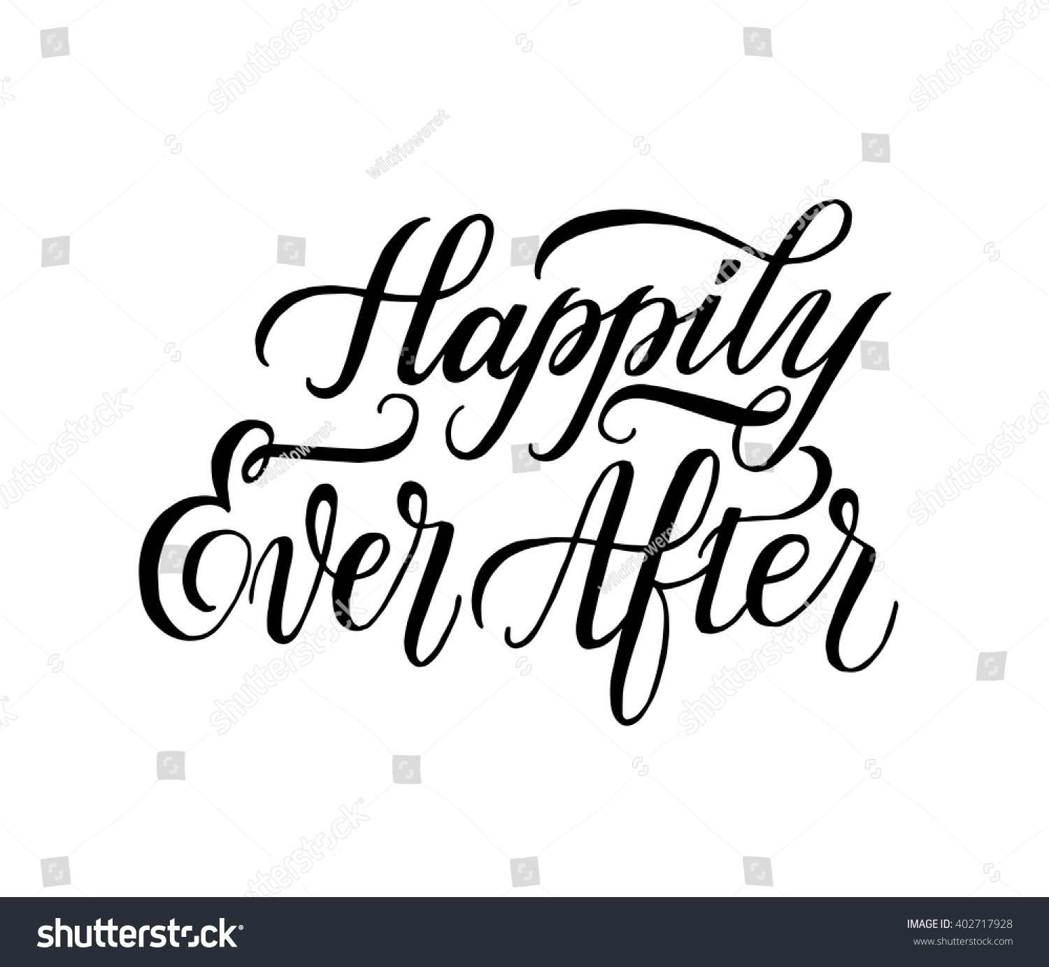 Happily Ever After. Hand Drawn Element For Wedding And ...