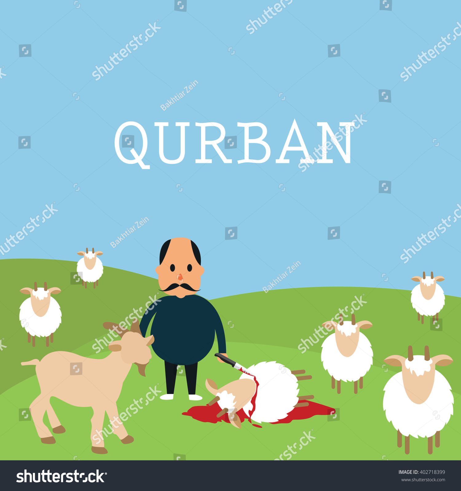 Qurban Sacrifice Kill Goat Lamb Islam Stock Vector