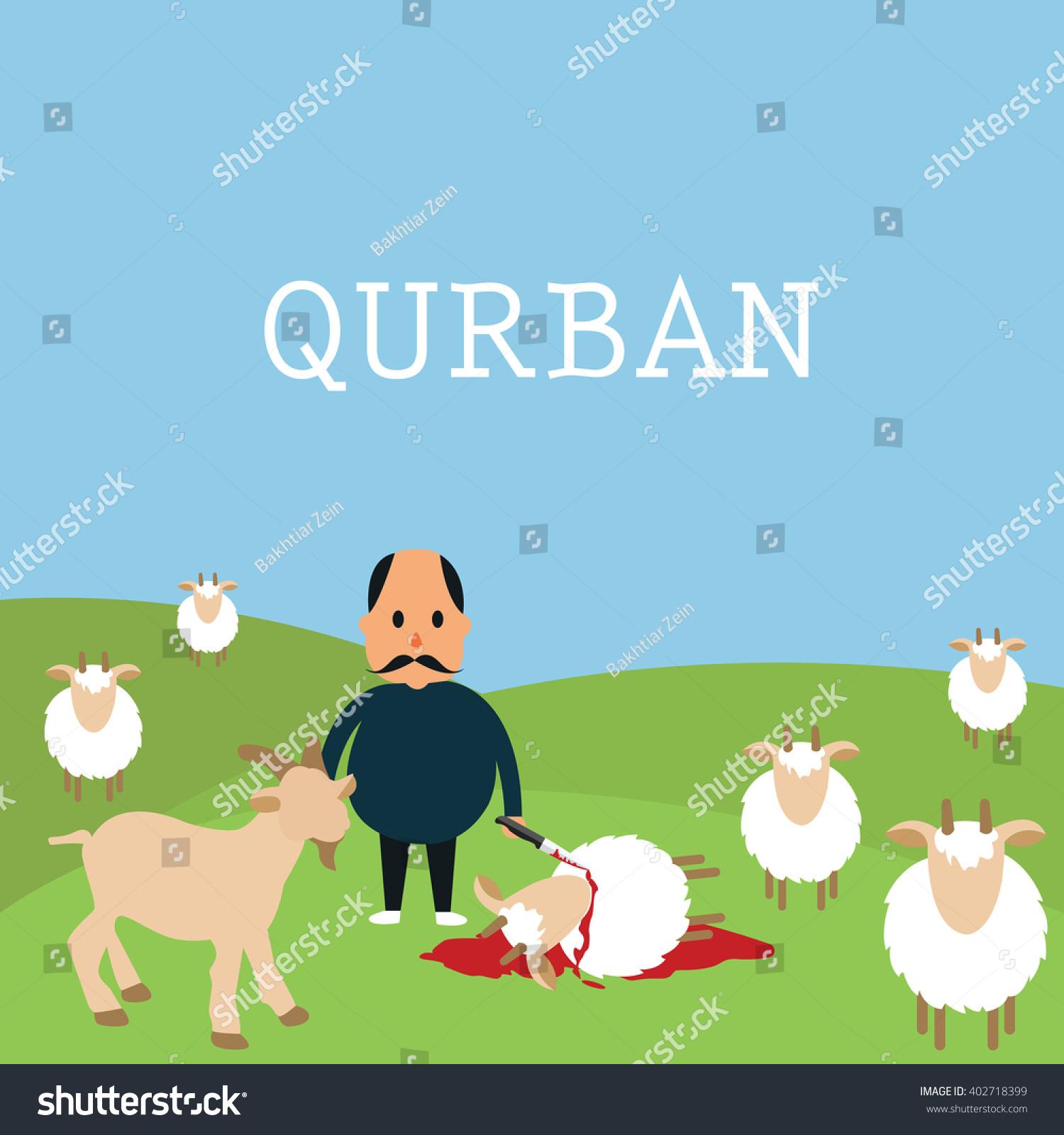 Qurban Sacrifice Kill Goat Lamb Islam Stock Vector