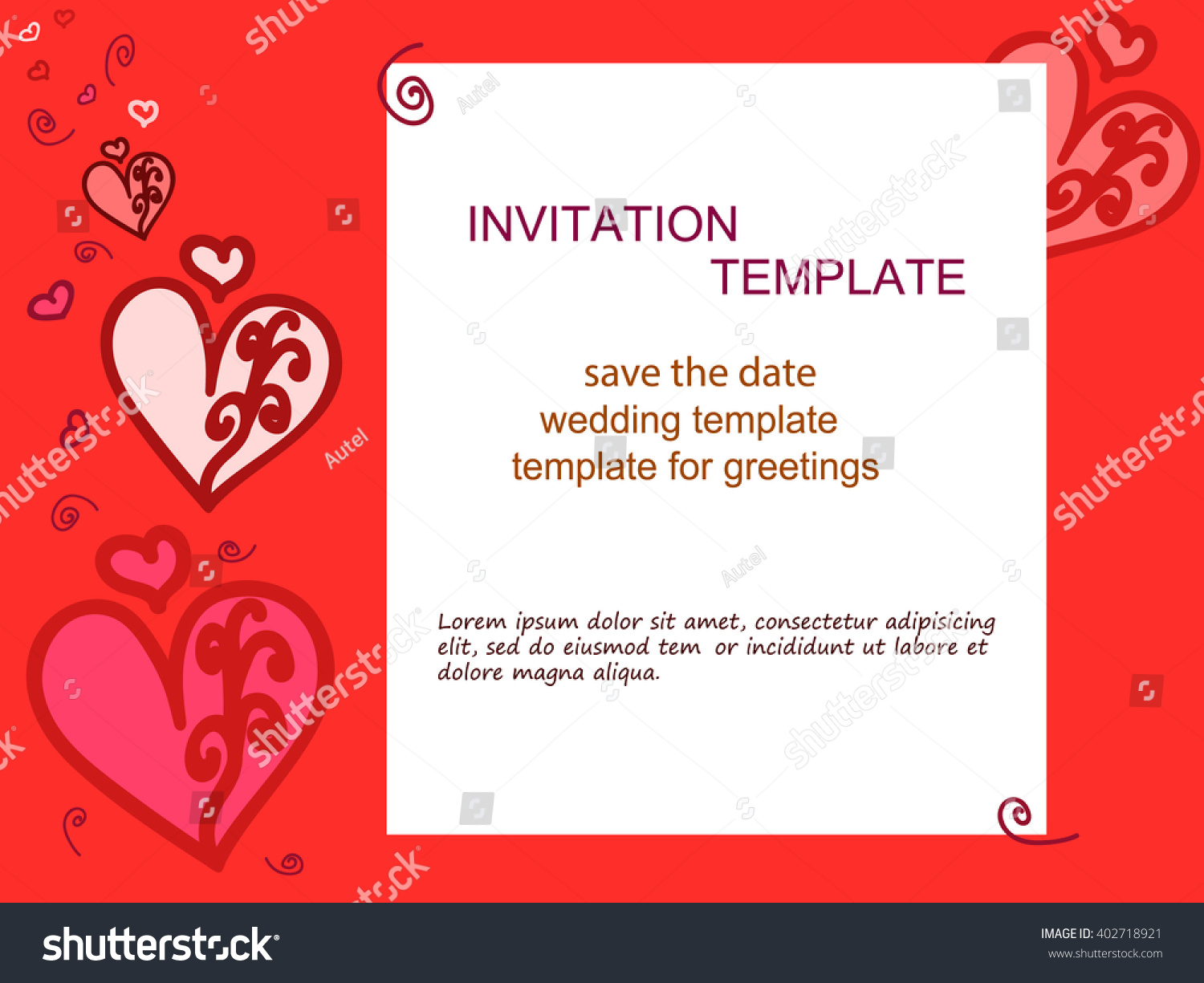 Invitation Heart Red Background Wedding Invitations Stock Vector ...