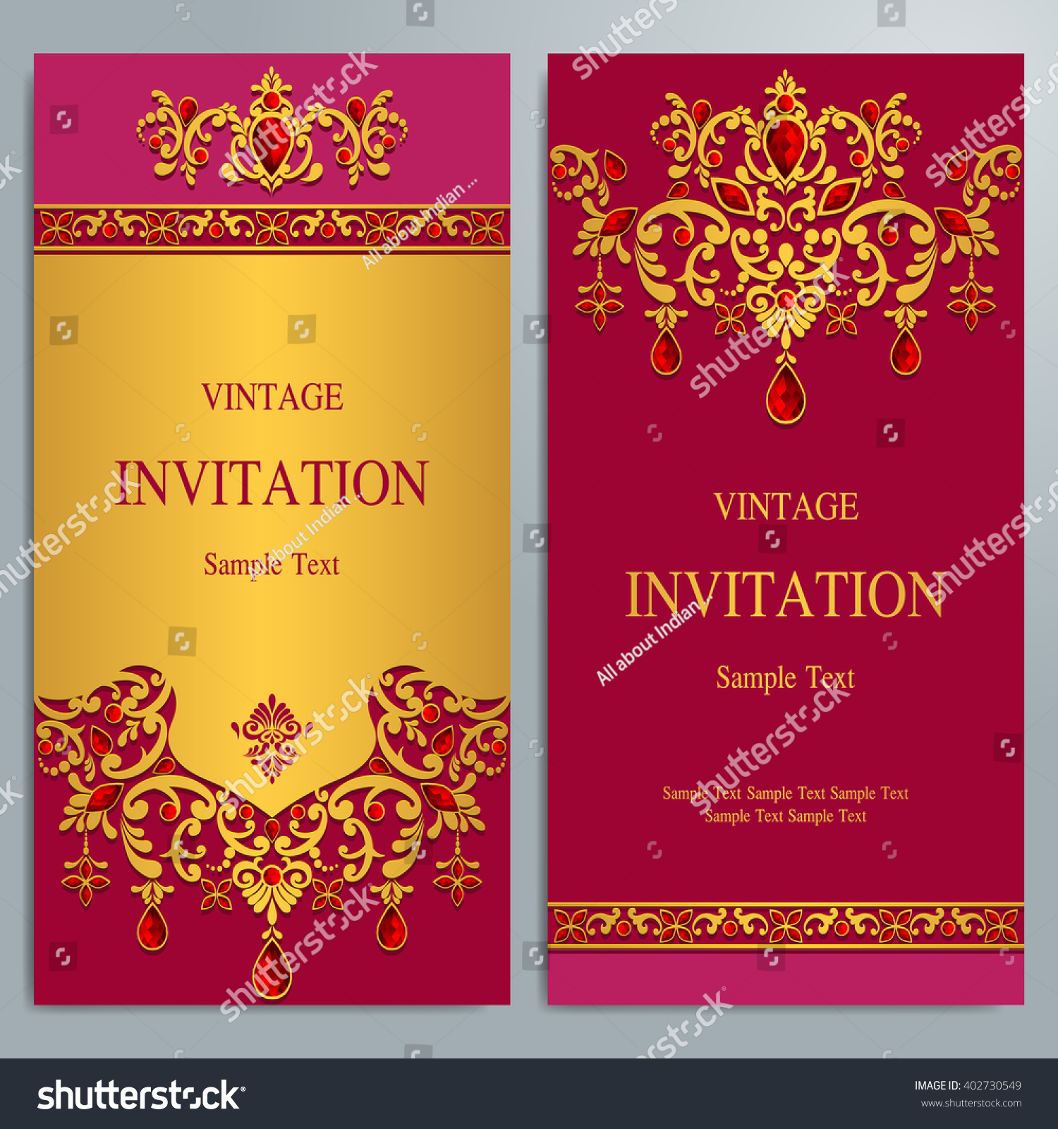 Royalty-free Wedding invitation or card with… #402730549 Stock Photo ...