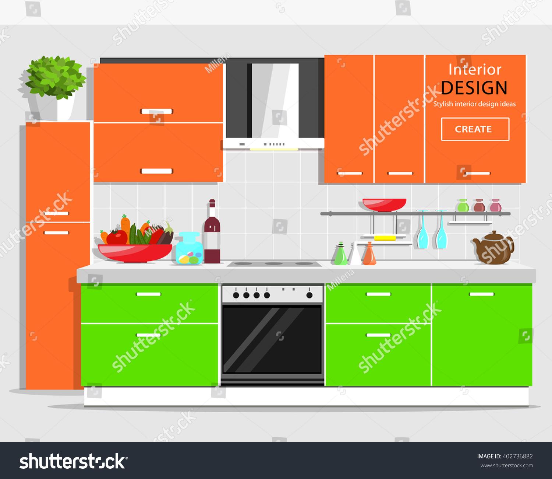 Modern Graphic Kitchen Interior Design Colorful Stock Vector
