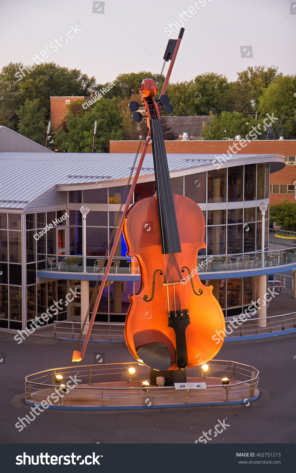 SYDNEY, NOVA SCOTIA, CANADA - SEPTEMBER 21, 2011: The Big Fiddle greets cruise ships passengers to Sydney, Nova Scotia. It is the largest fiddle in the world with a height of 60 feet/18 meters.