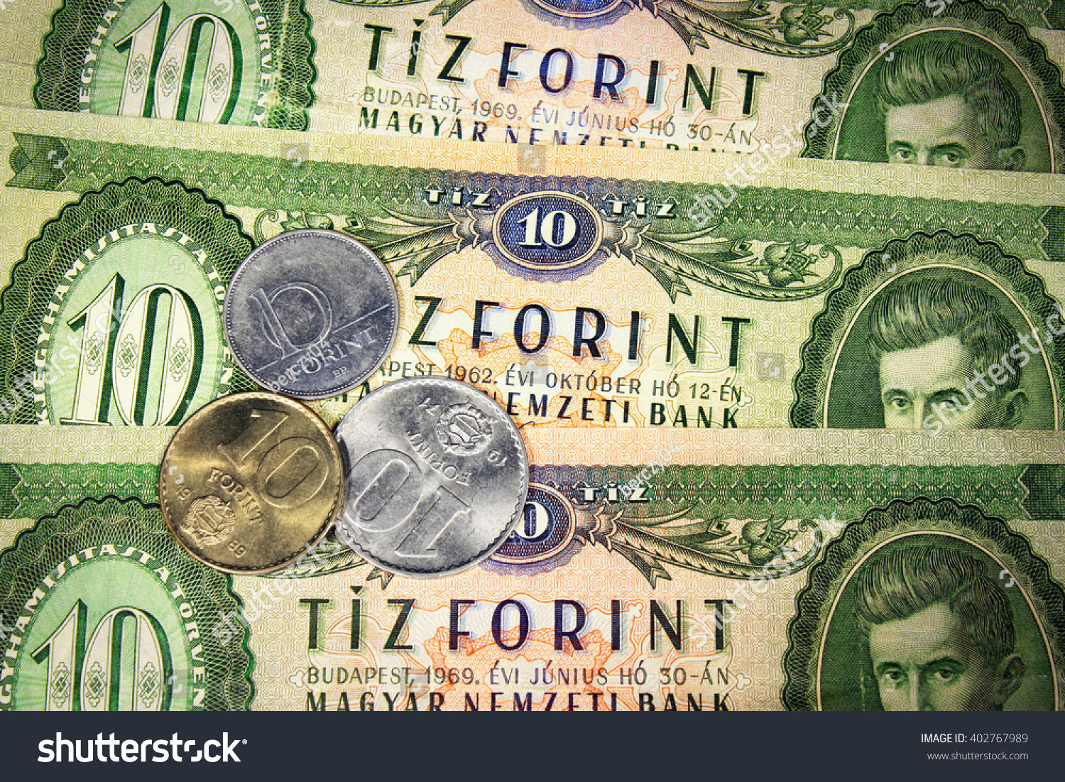 Hungarian Old Money Three Coins Ten Stock Photo (Edit Now