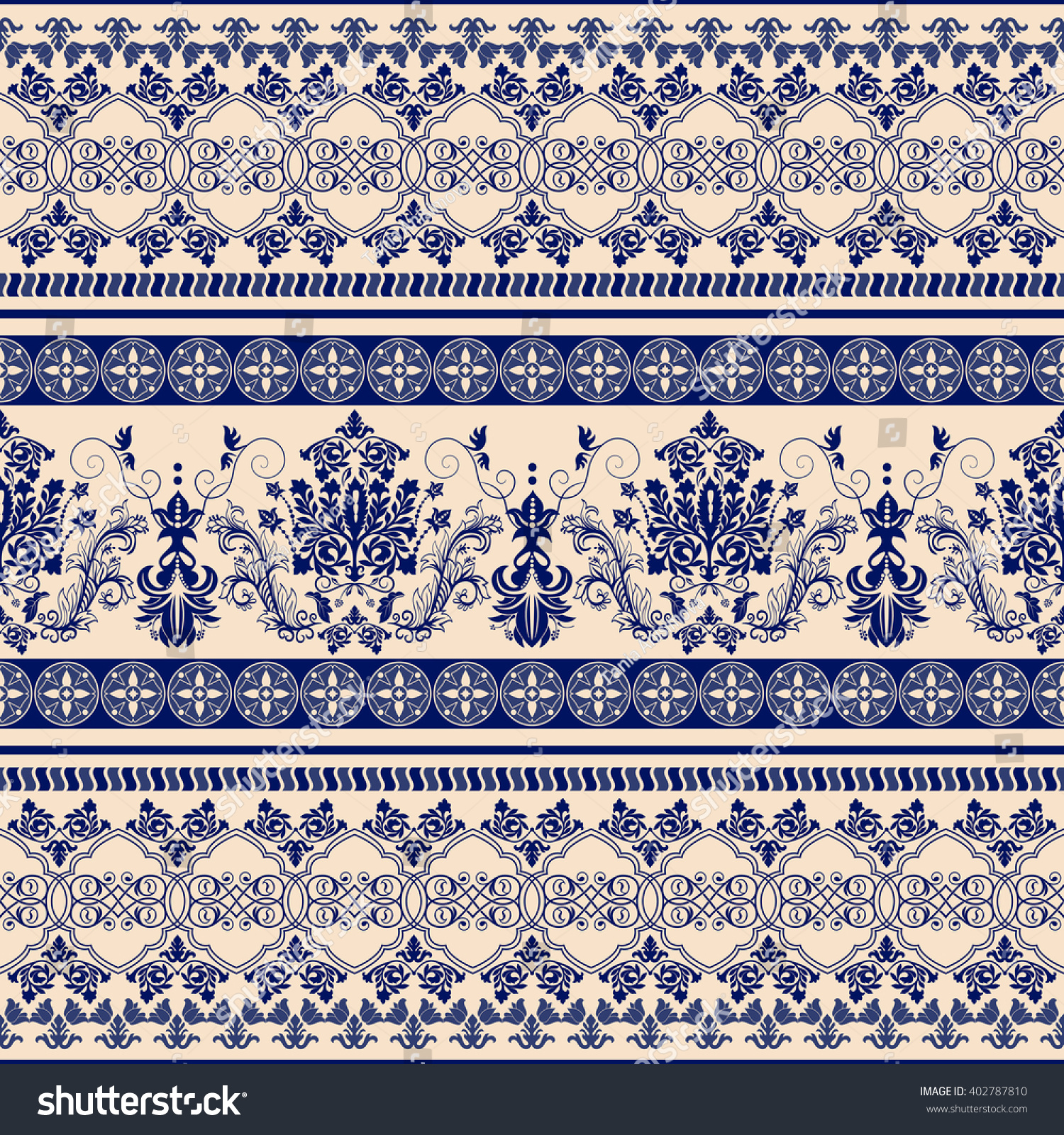 Seamless Damask Pattern Classic Wallpaper Background Ornamental Border