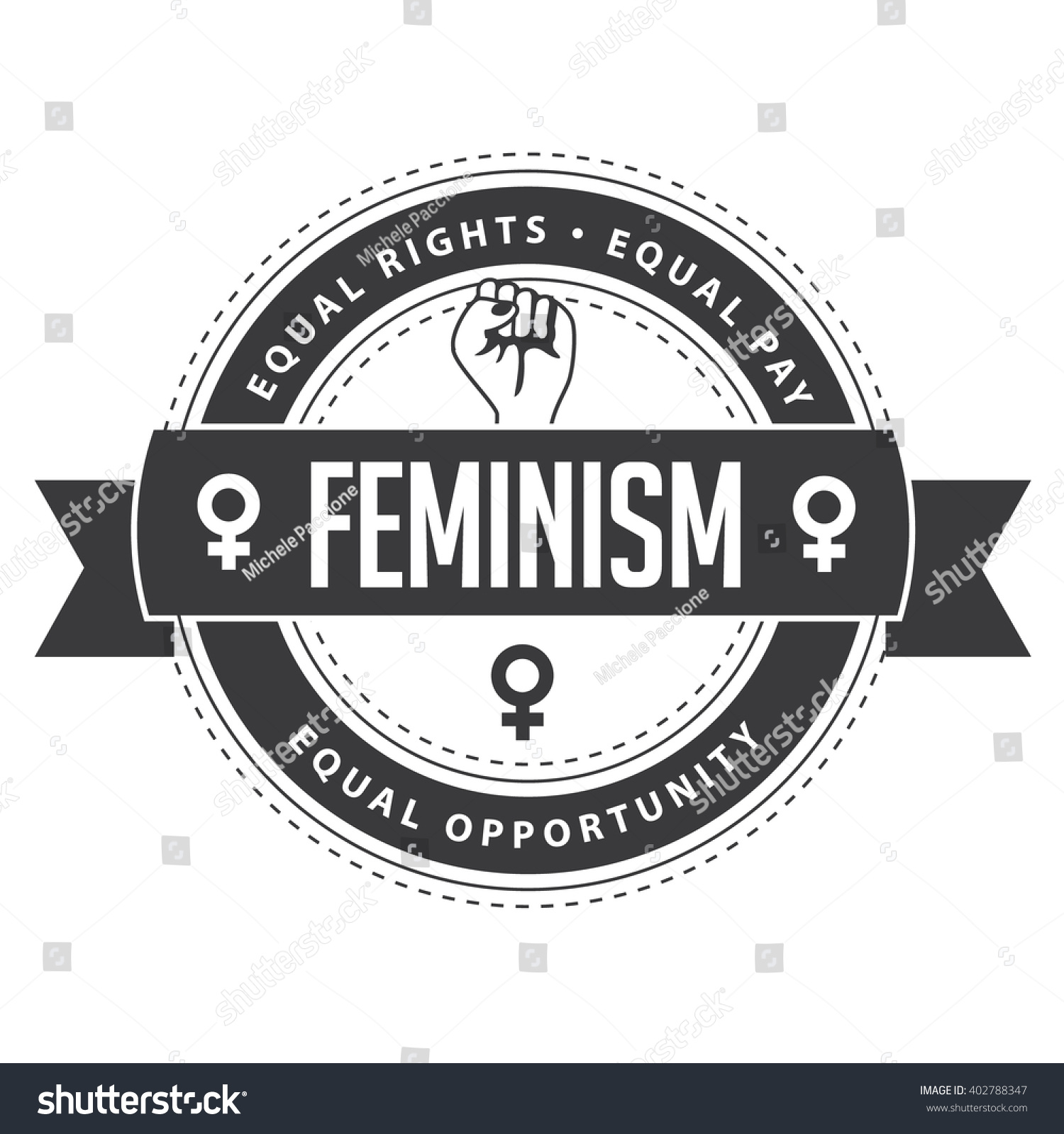 Feminism symbol circular badge feminist icon stock illustration feminism symbol circular badge feminist icon logo inspiration rallying cry for equal pay buycottarizona Image collections