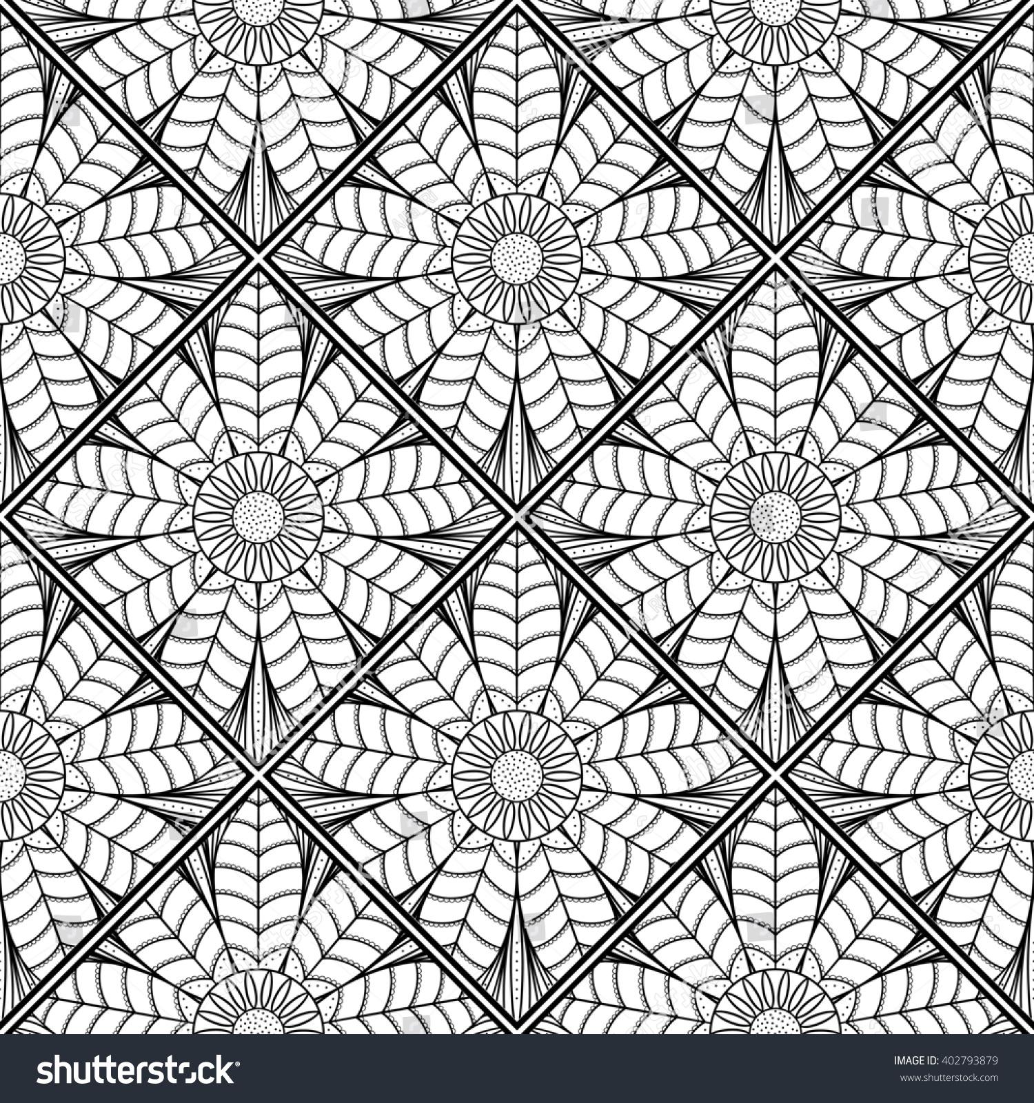 Raster Copy Mosaic Pattern Lotus Flower Stock Illustration 402793879
