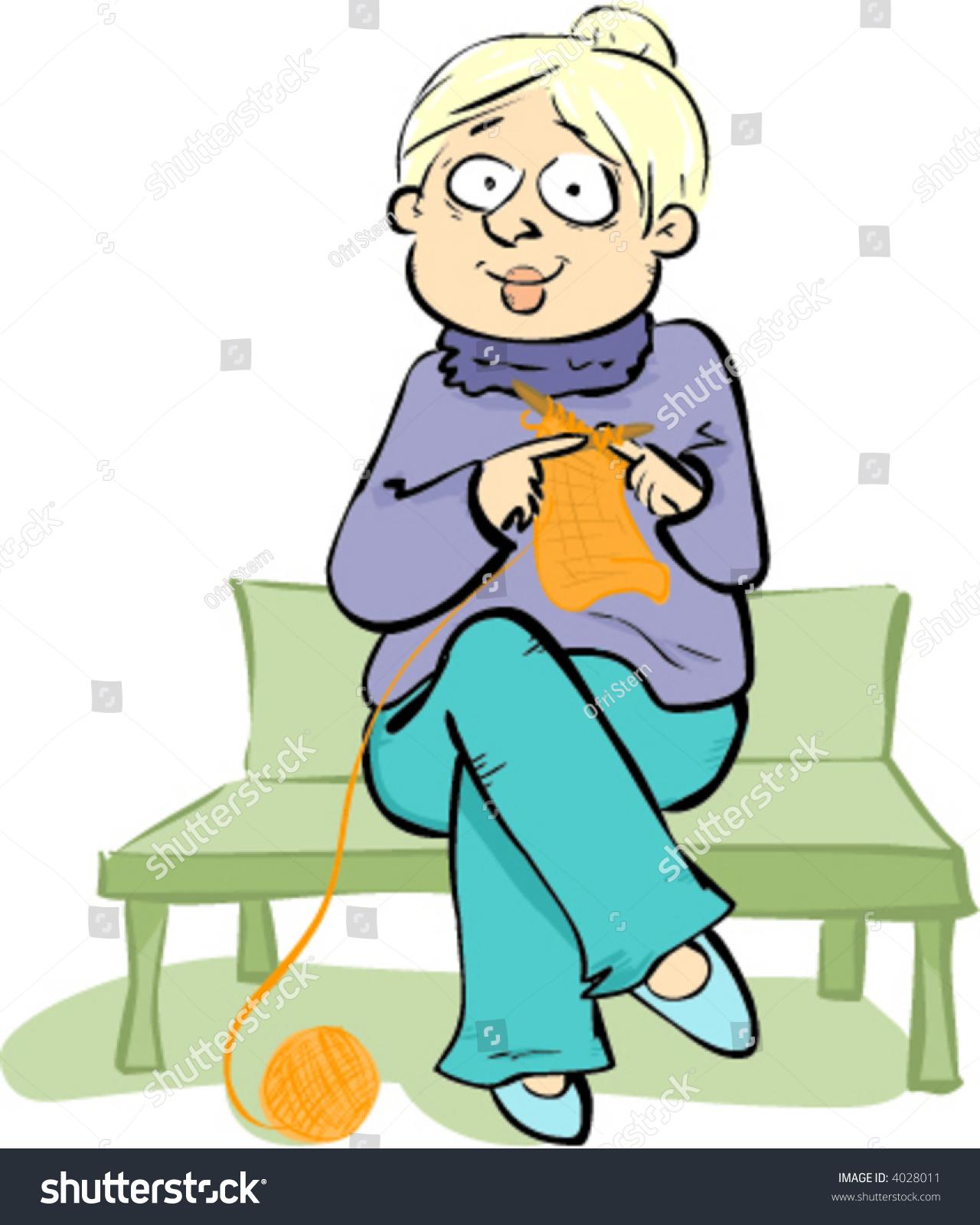 Grandma Knitting Cartoon : Grandma is knitting in the part stock vector illustration