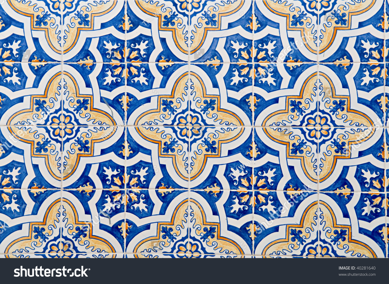 Abstract Pattern Portuguese Painted Tiles Interesting Stock Photo ...