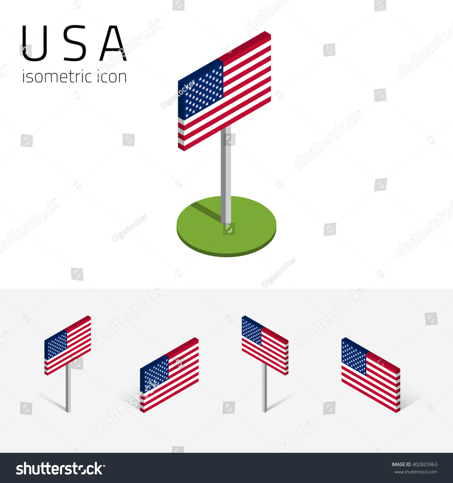 American Flag United States Of America Vector Set Of Isometric Flat Icons