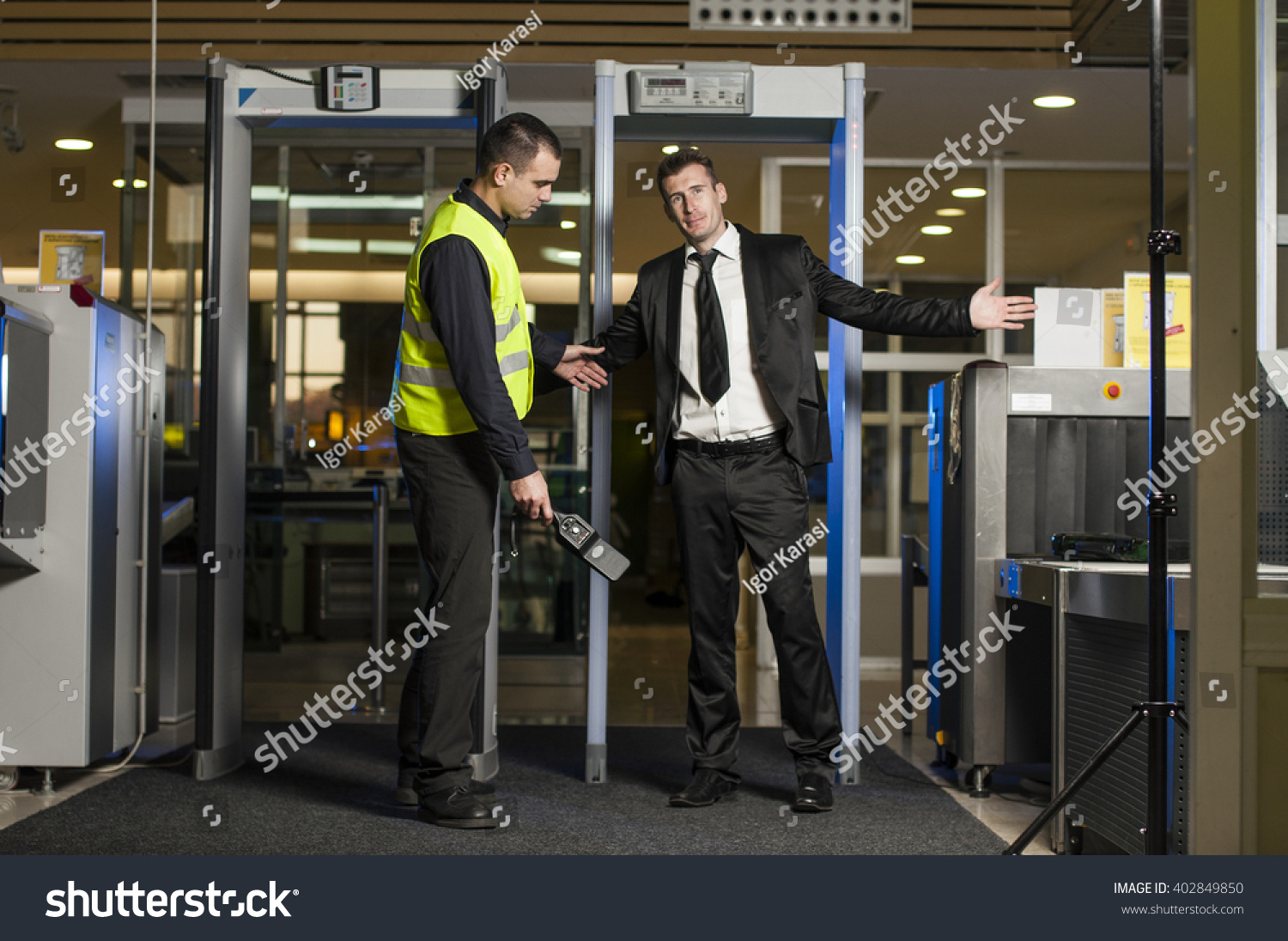 Airport security check gates metal detector stock photo