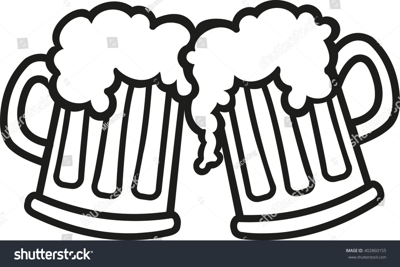 Beer Mugs Cartoon Cheers Stock Vector 402860155 : Shutterstock