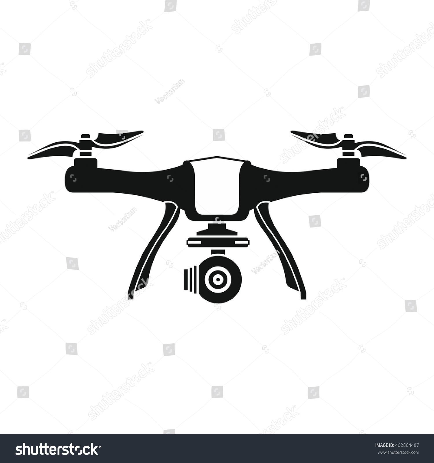 Drone Icon In Black Flat Style White Background