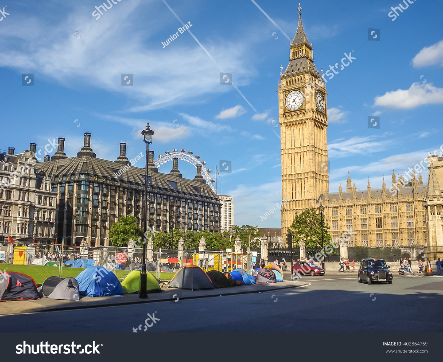 London - August 21 Protests demonstrators and supporters pitch up tents at Parliament Square & London August 21 Protests Demonstrators Supporters Stock Photo ...