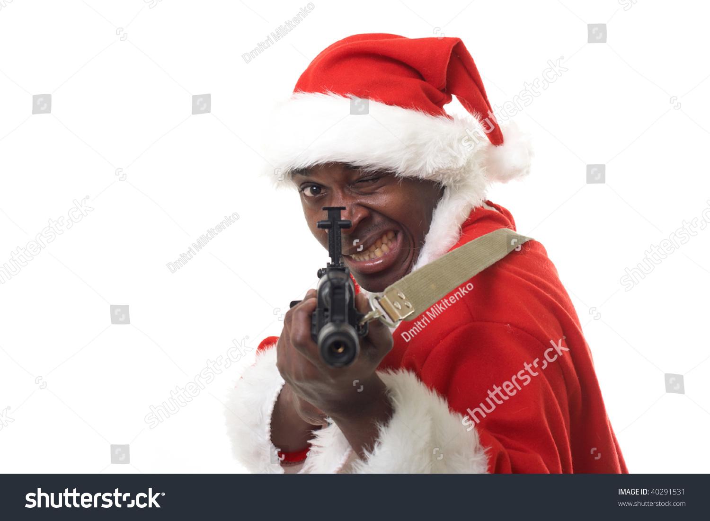 Black santa claus with an assault rifle stock photo