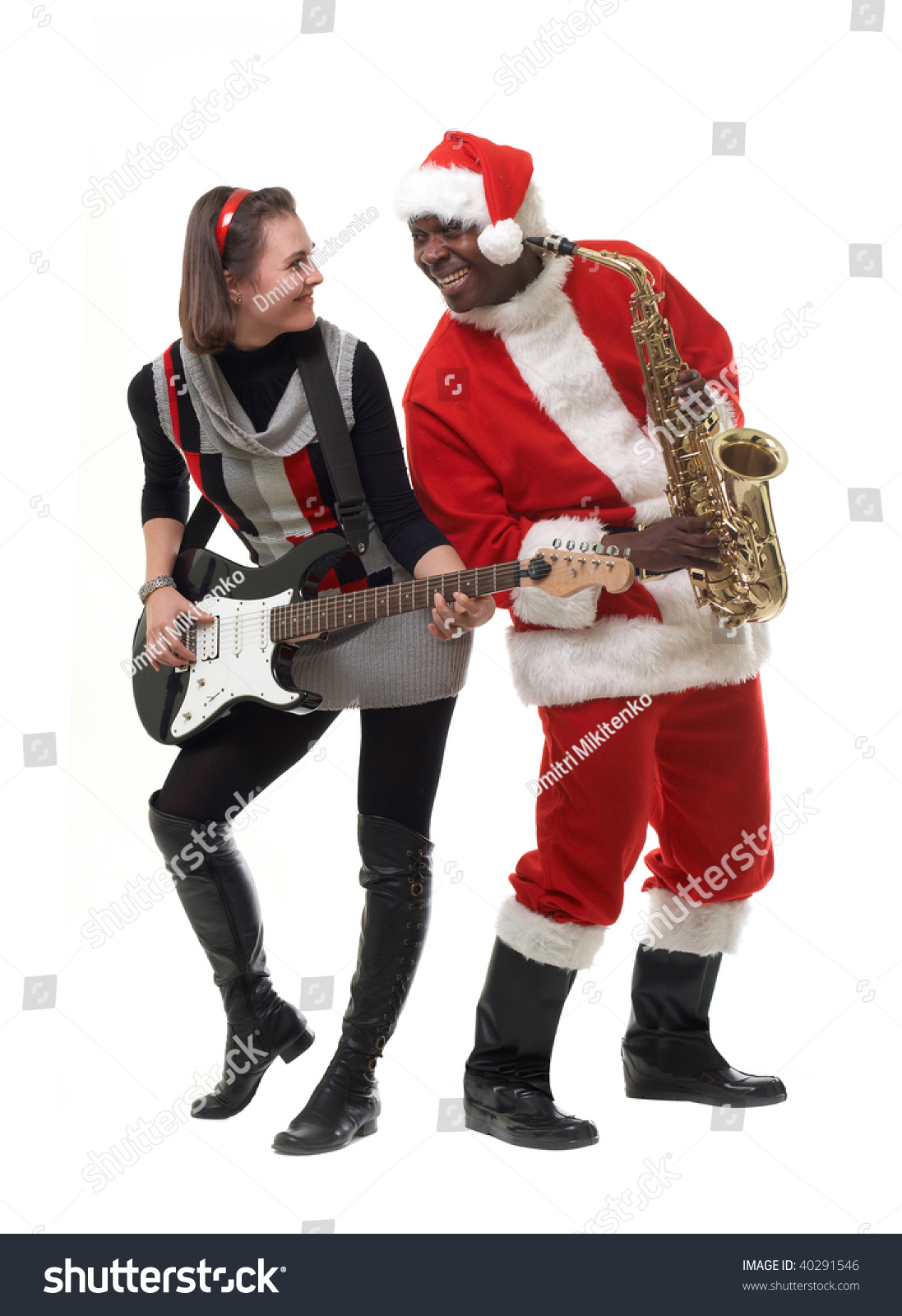 Black Santa Claus Sax White Girl Stock Photo 40291546 -6680