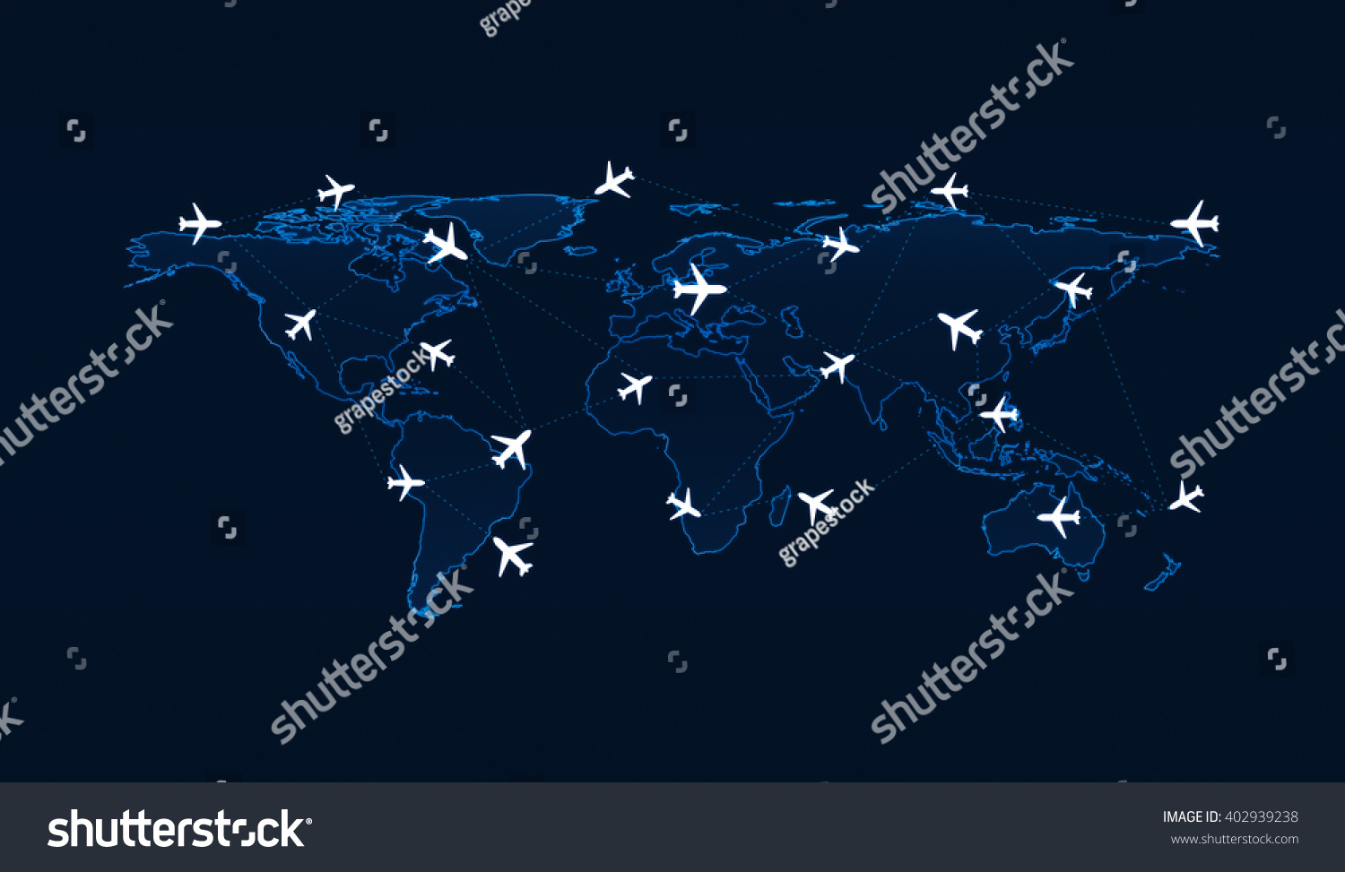 Light blue world map flight routes stock illustration 402939238 light blue world map with flight routes airplanes on blue background airplane transportation concept gumiabroncs Gallery