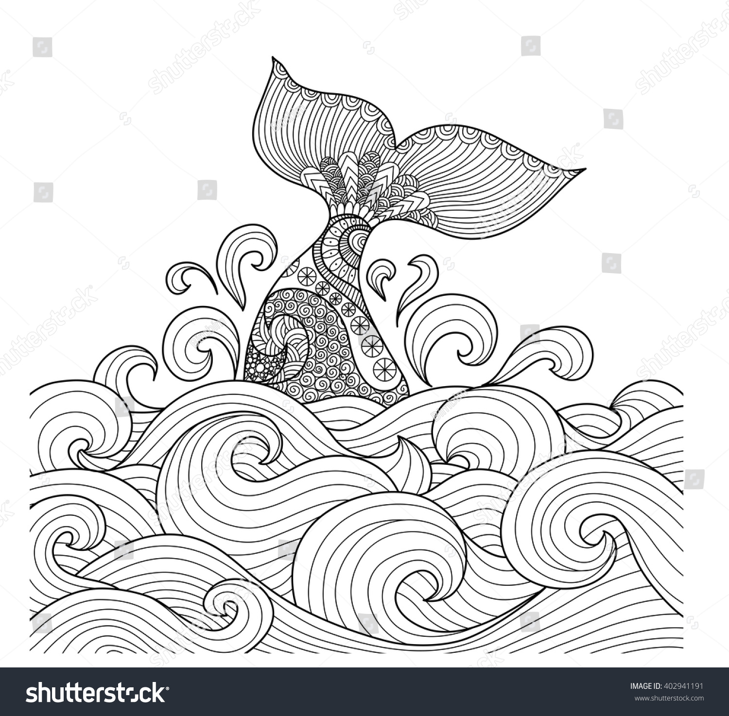 Art In Lines : Whale tail wavy ocean lines art stock vector