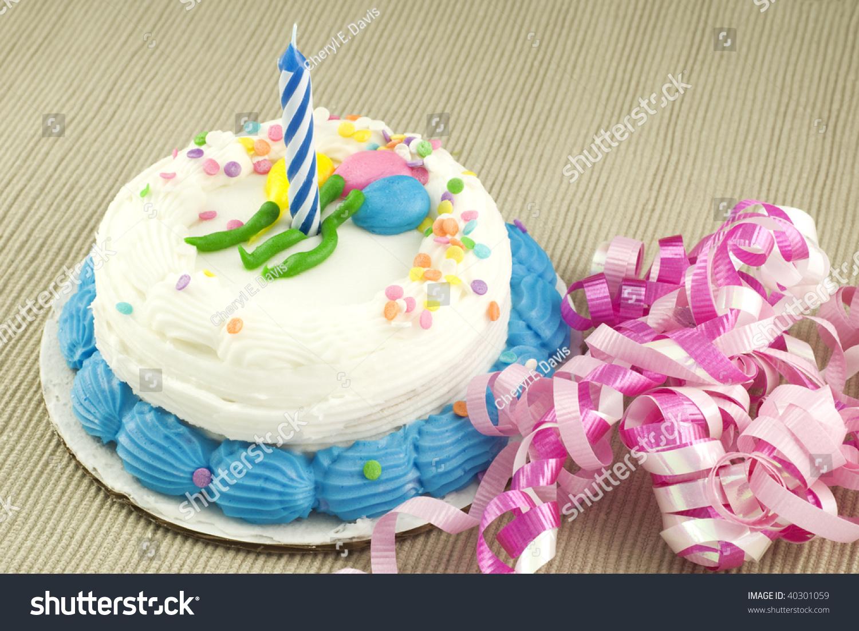 One Year Birthday Cake One Unlit Stock Photo 40301059 Shutterstock