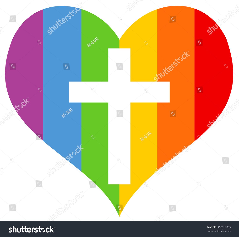 Rainbow heart symbol homosexuals homosexuality cross stock vector rainbow heart as symbol of homosexuals and homosexuality with cross of christian catholic church biocorpaavc