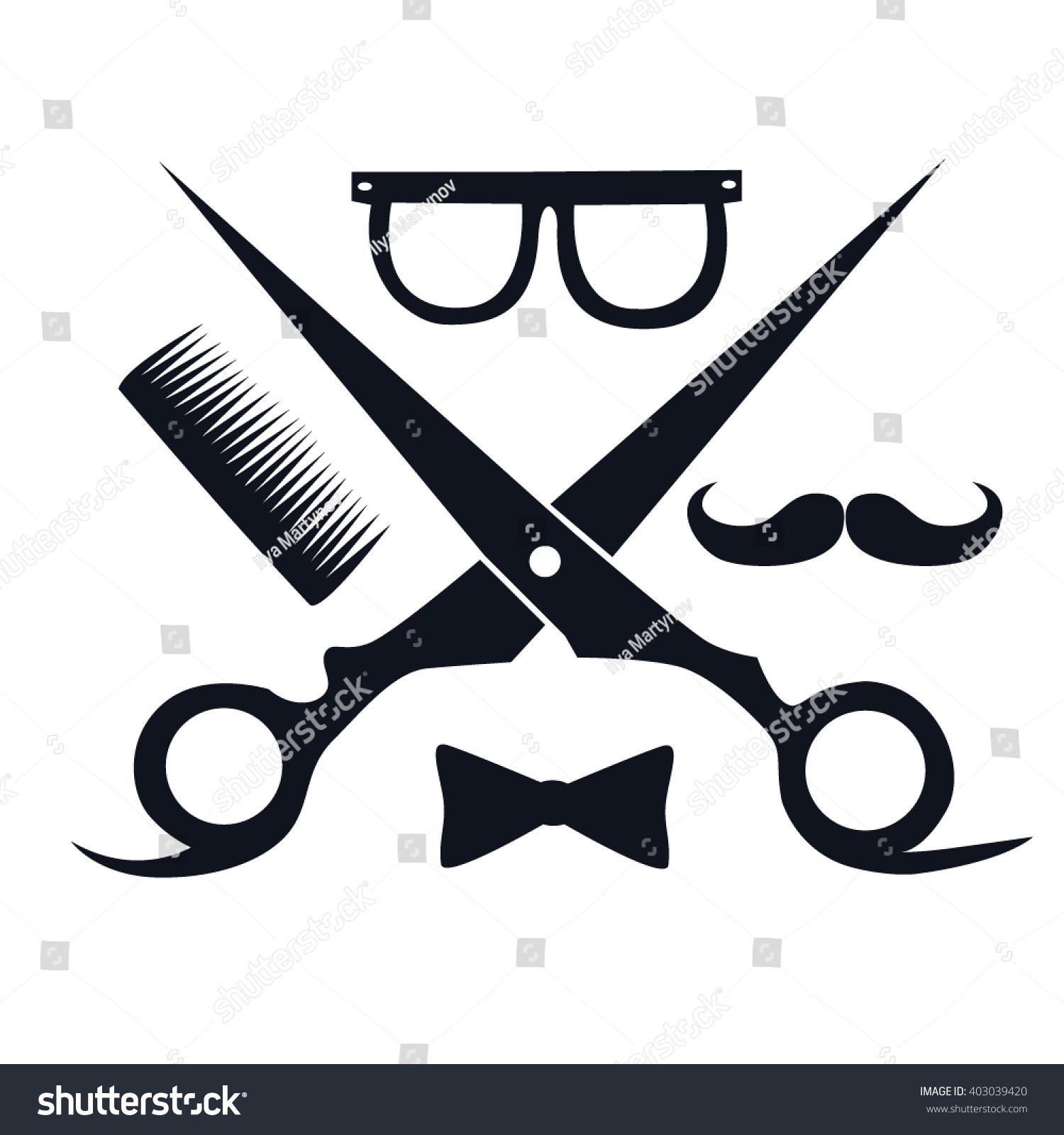 Barbershop Logo Scissors Mustache Comb Hair Salon Vintage Vector