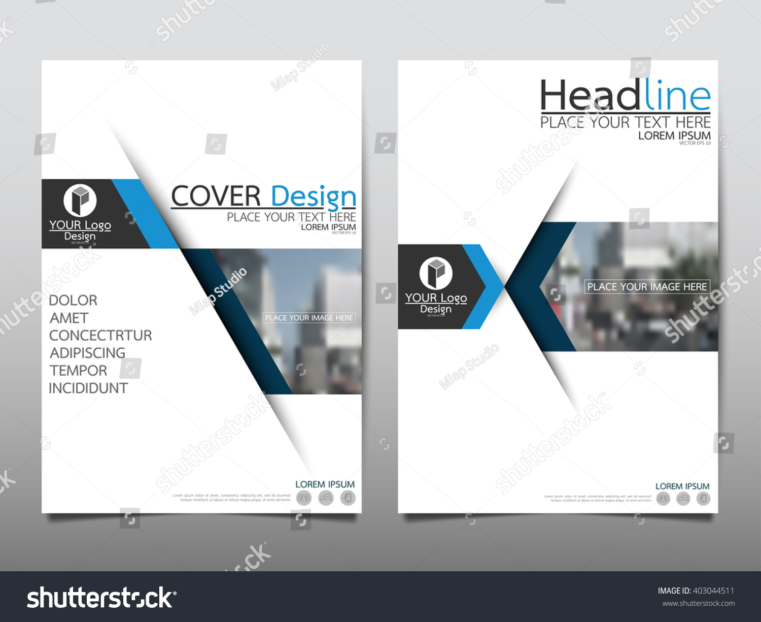 Brochure template layout cover design annual report magazine flyer - Blue Annual Report Brochure Flyer Design Stock Vector