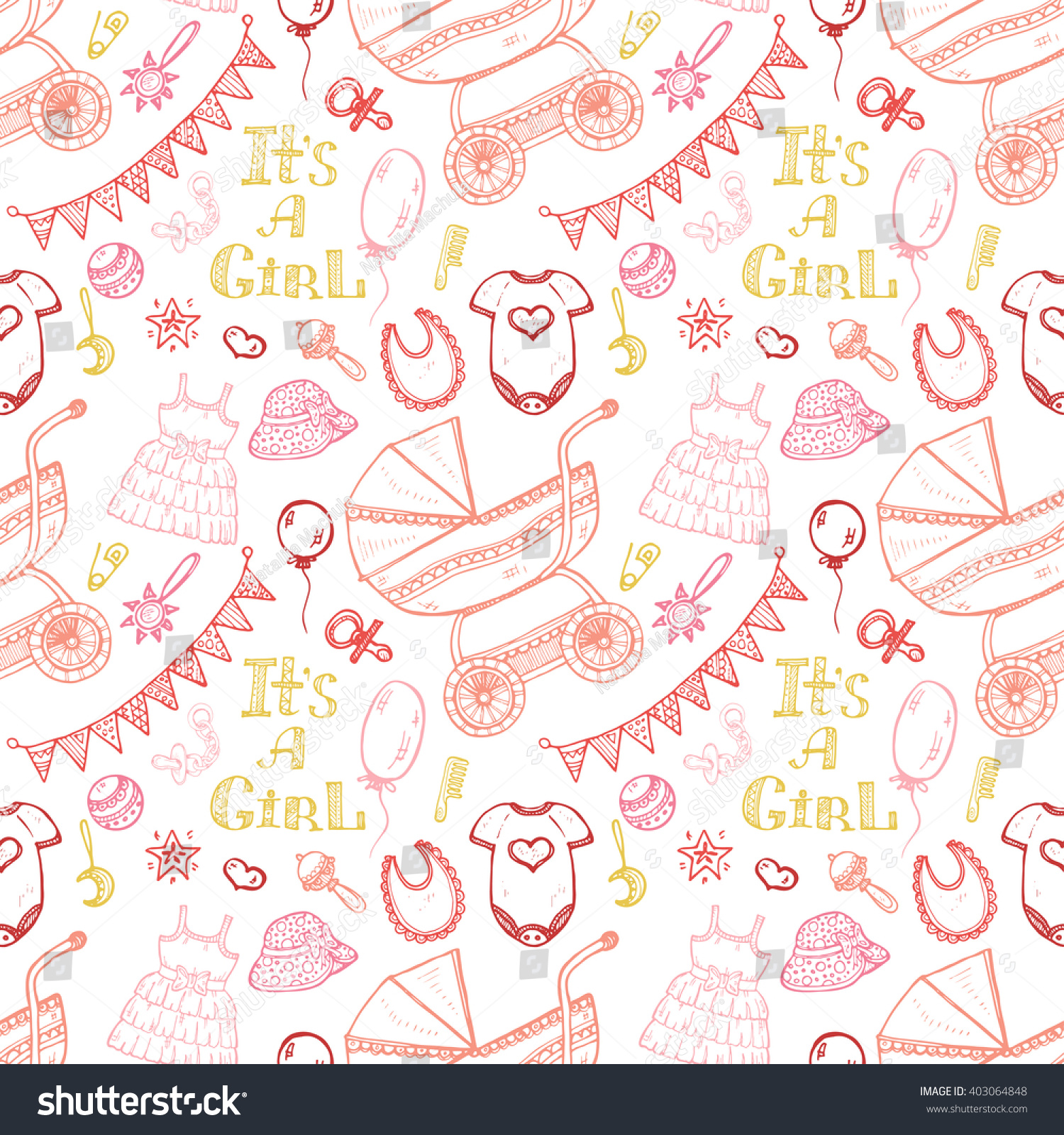 71d989aad Seamless Pattern Cute Hand Drawn Baby Stock Vector (Royalty Free ...