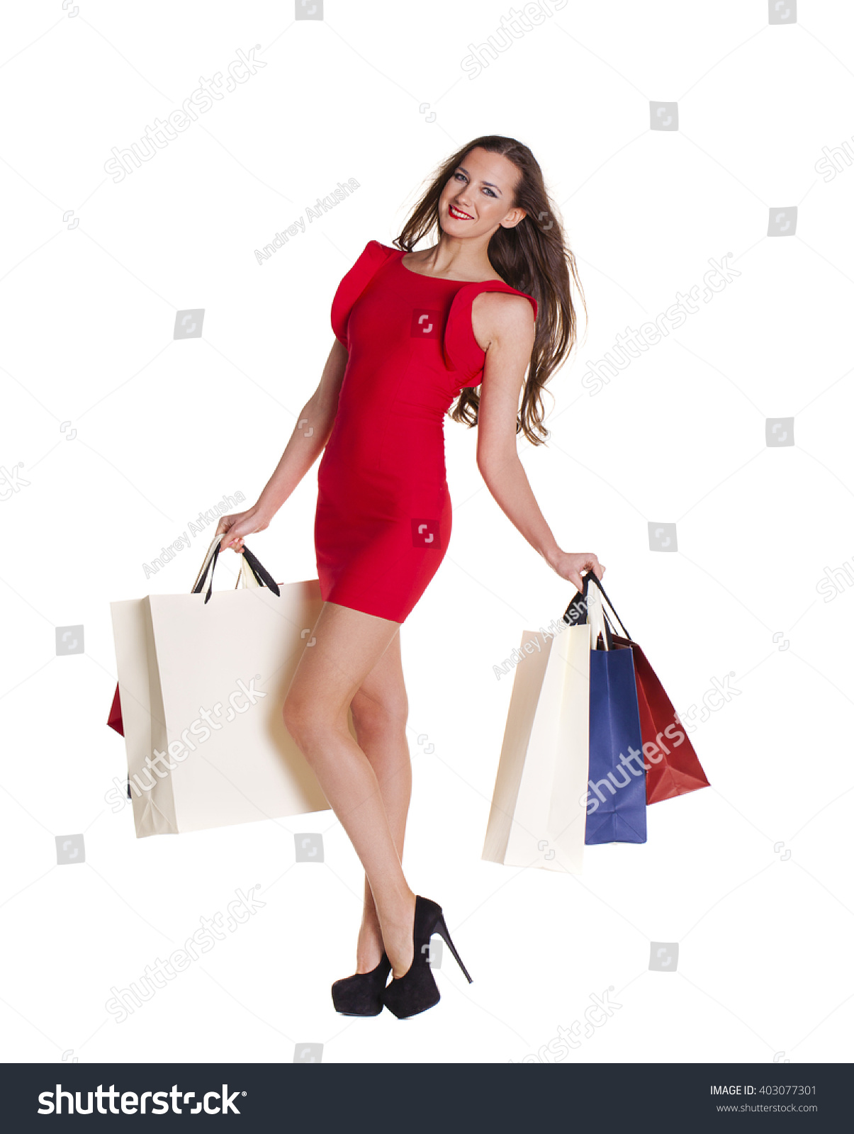 Woman posing with shopping bags isolated on white background full - White Background Happy Girl Hold Shopping Bags Red Dress Preview Save To A Lightbox