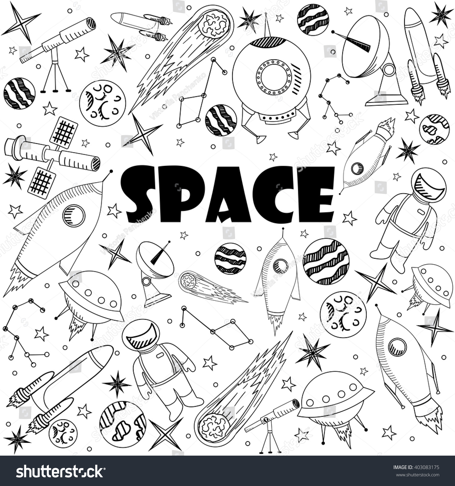 space coloring book line art design vector illustration separate objects hand drawn doodle design