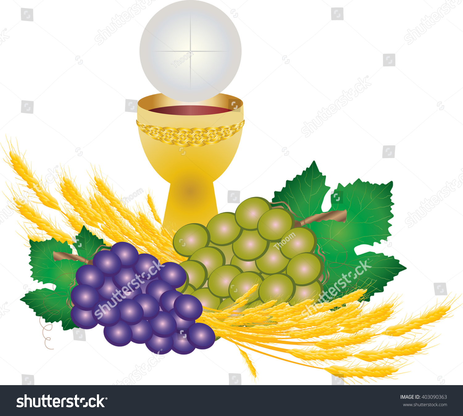 Eucharist symbols bread wine chalice host stock vector 403090363 eucharist symbols of bread and wine chalice and host with wheat ears and grapes vine buycottarizona Image collections