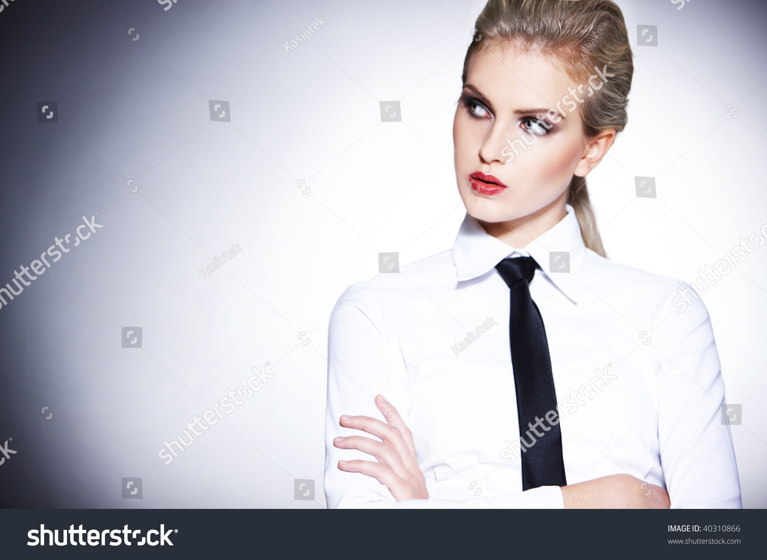 Portrait Urban Business Woman Wearing Tie Stock Photo ...