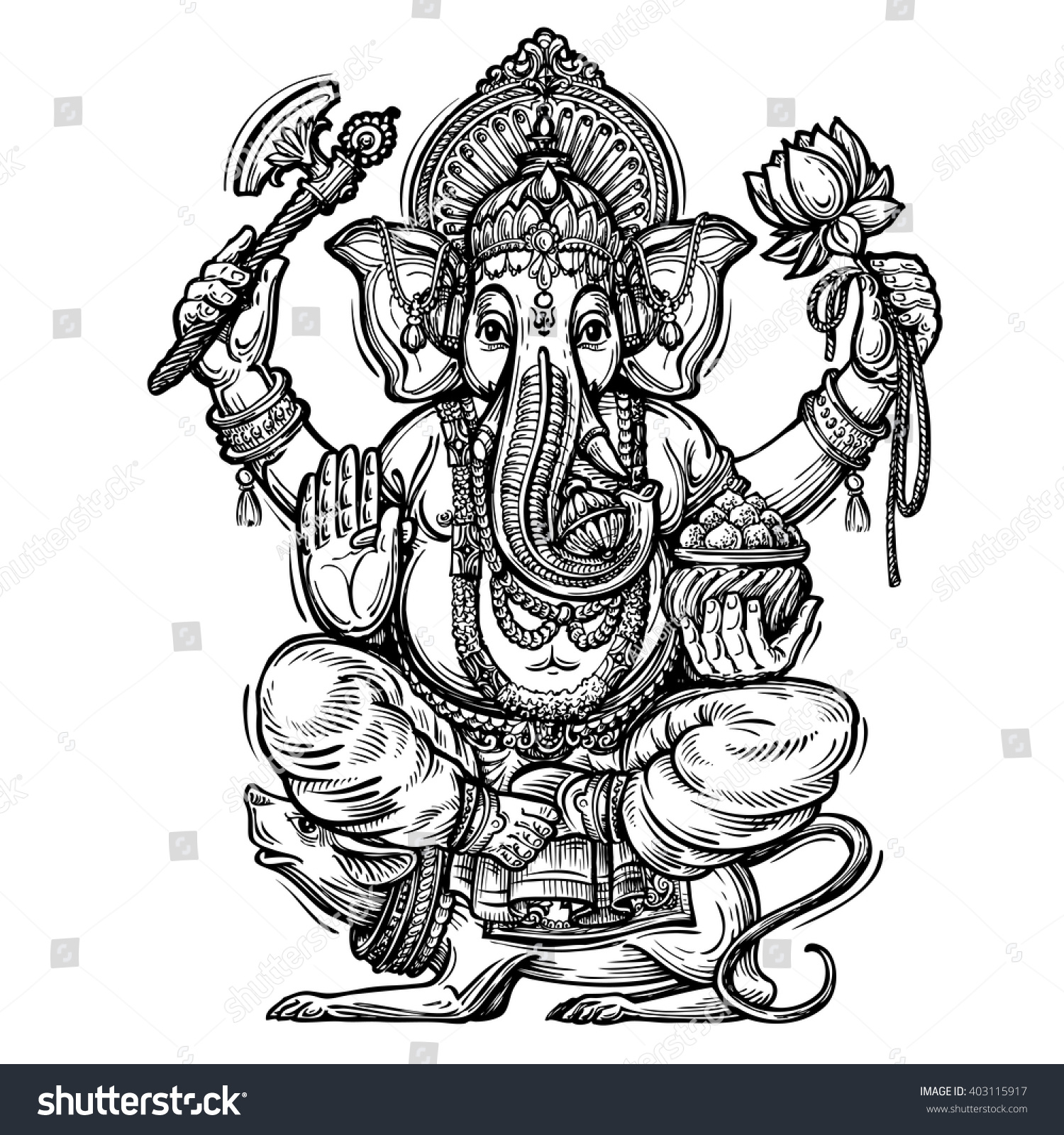 Hand drawn sketch vector illustration ganesh chaturthi