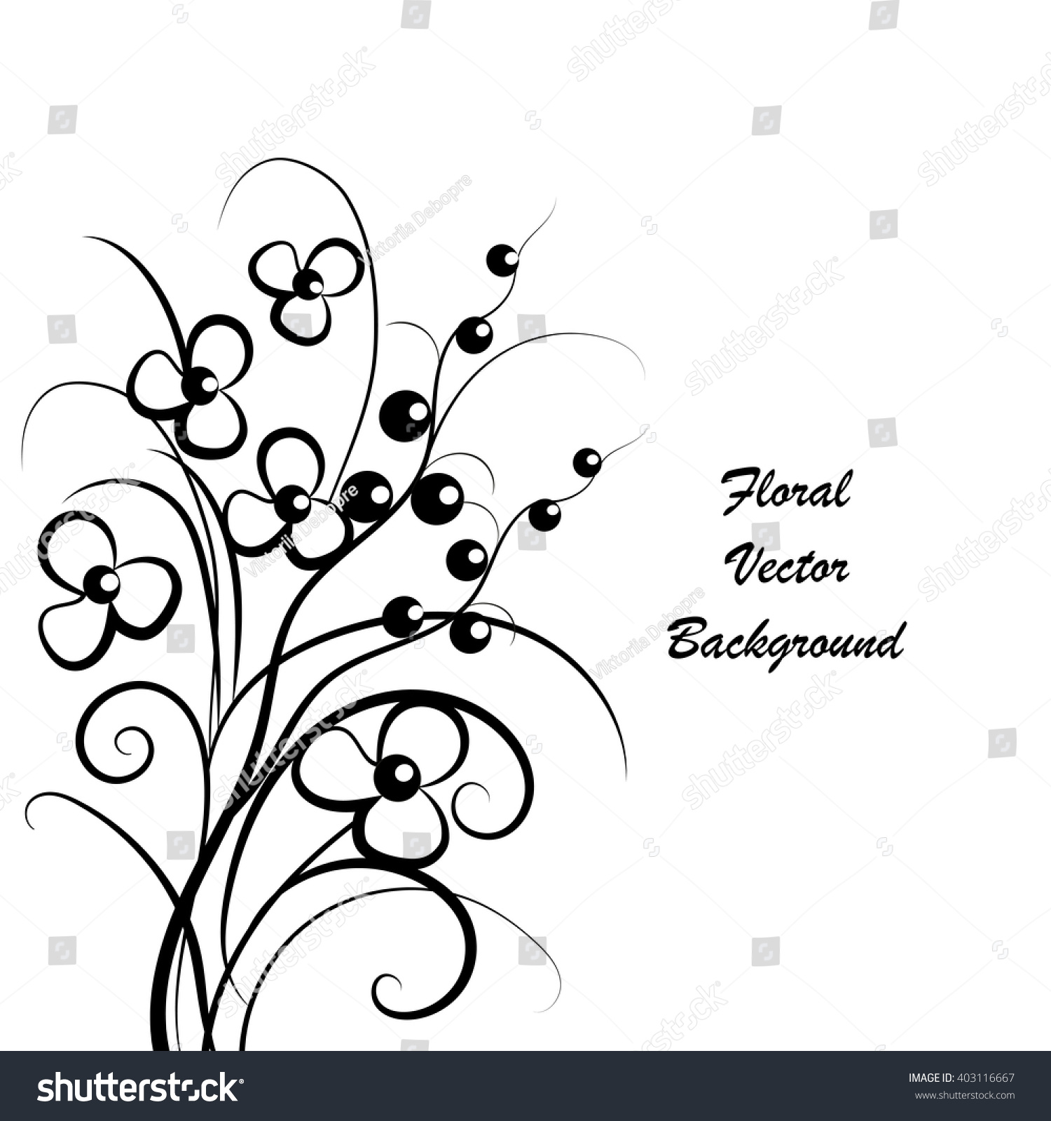 Simple Floral Background Black White Place Stock Vector Royalty