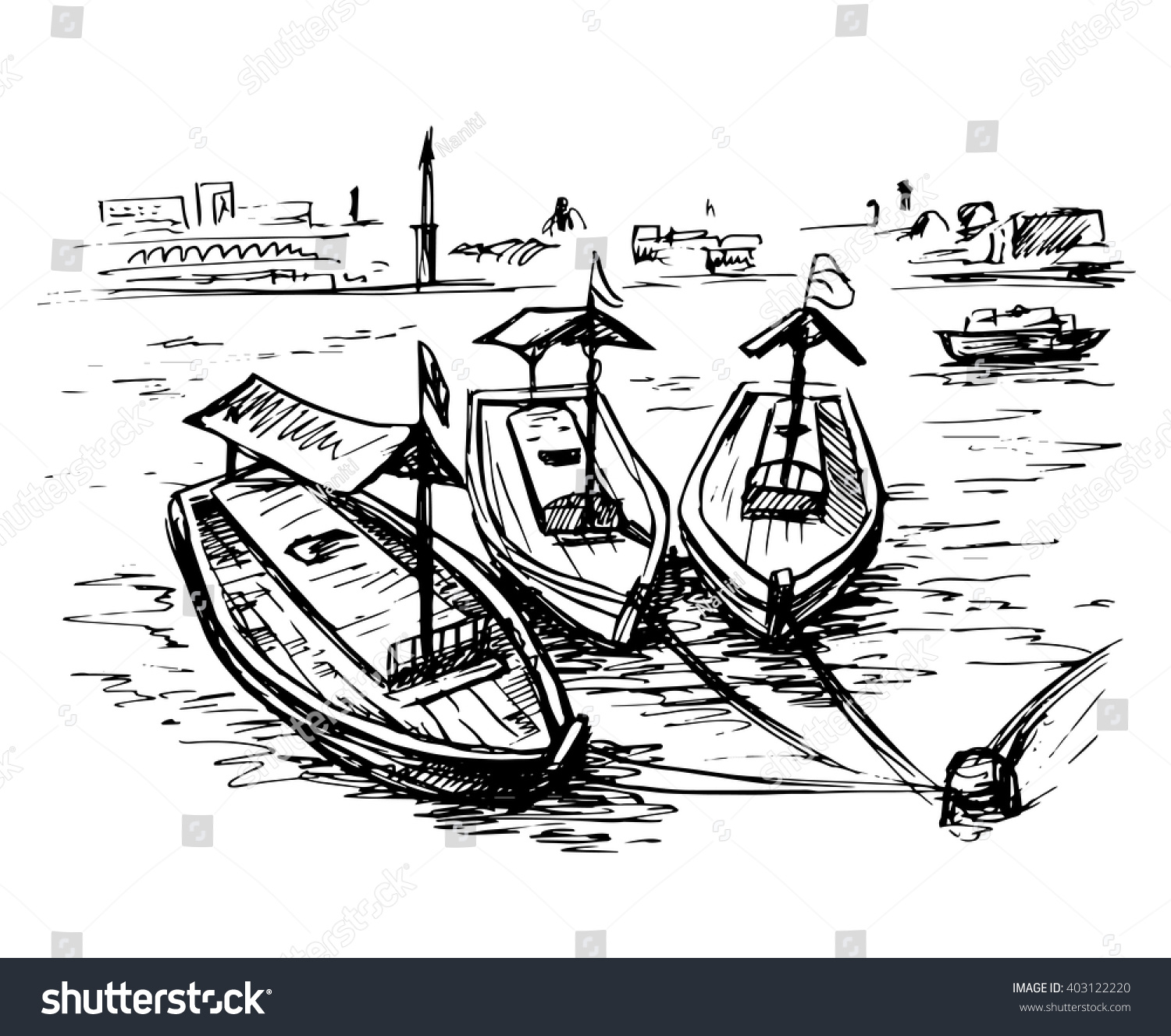 Uae Dubai Creek Boats Wharf Stock Vector 403122220