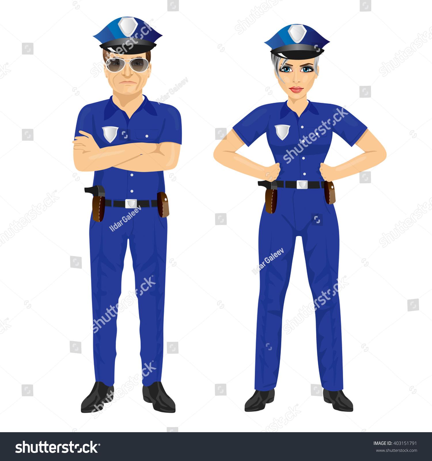 confident police man woman agents uniform stock vector 403151791