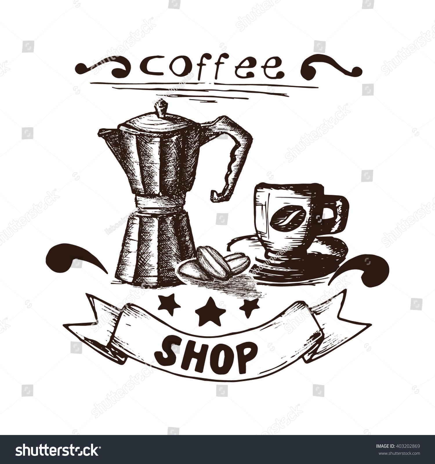Coffee Maker Drawing ~ Hand drawn coffee espresso maker stock vector