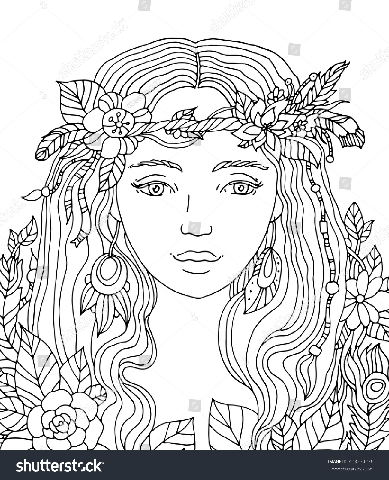 Pretty girl coloring pages - Pretty Elegant Girl Floral Wreath Coloring Book Page For Adult Vector Artwork
