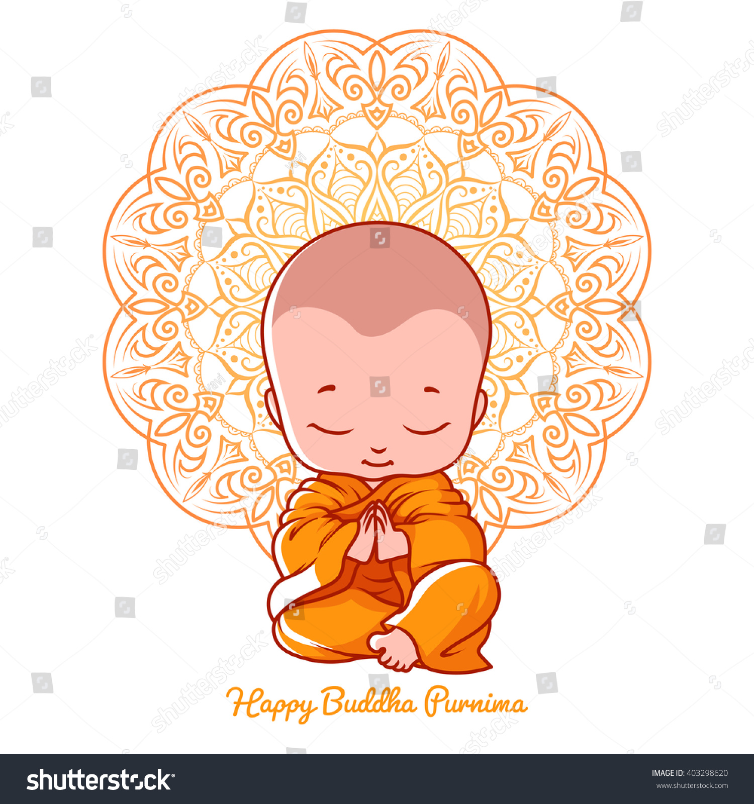 Little Meditating Monk Greeting Card Buddha Stock Vector