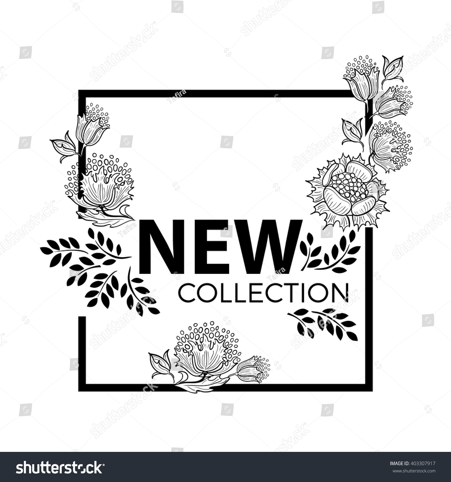 New Collection Fashion Graphic Design Square Stock Vector