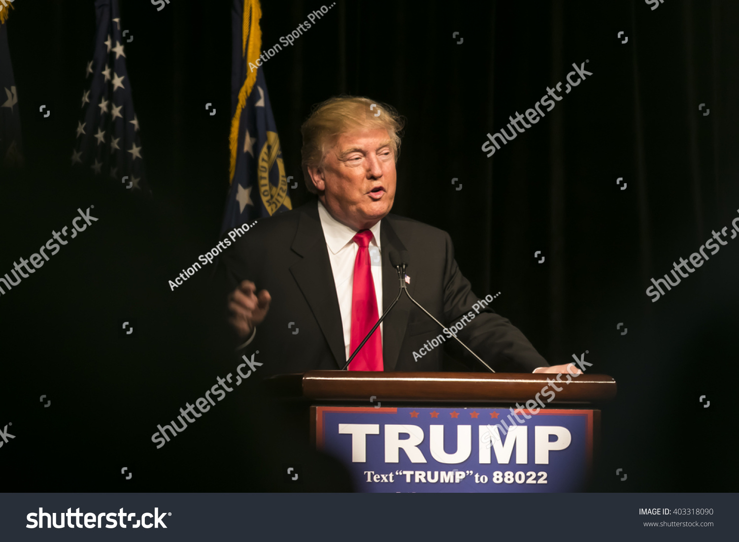 21 February 2016 Republican Presidential candidate Donald Trump speaks to several thousand supporters at a rally in Atlanta Georgia